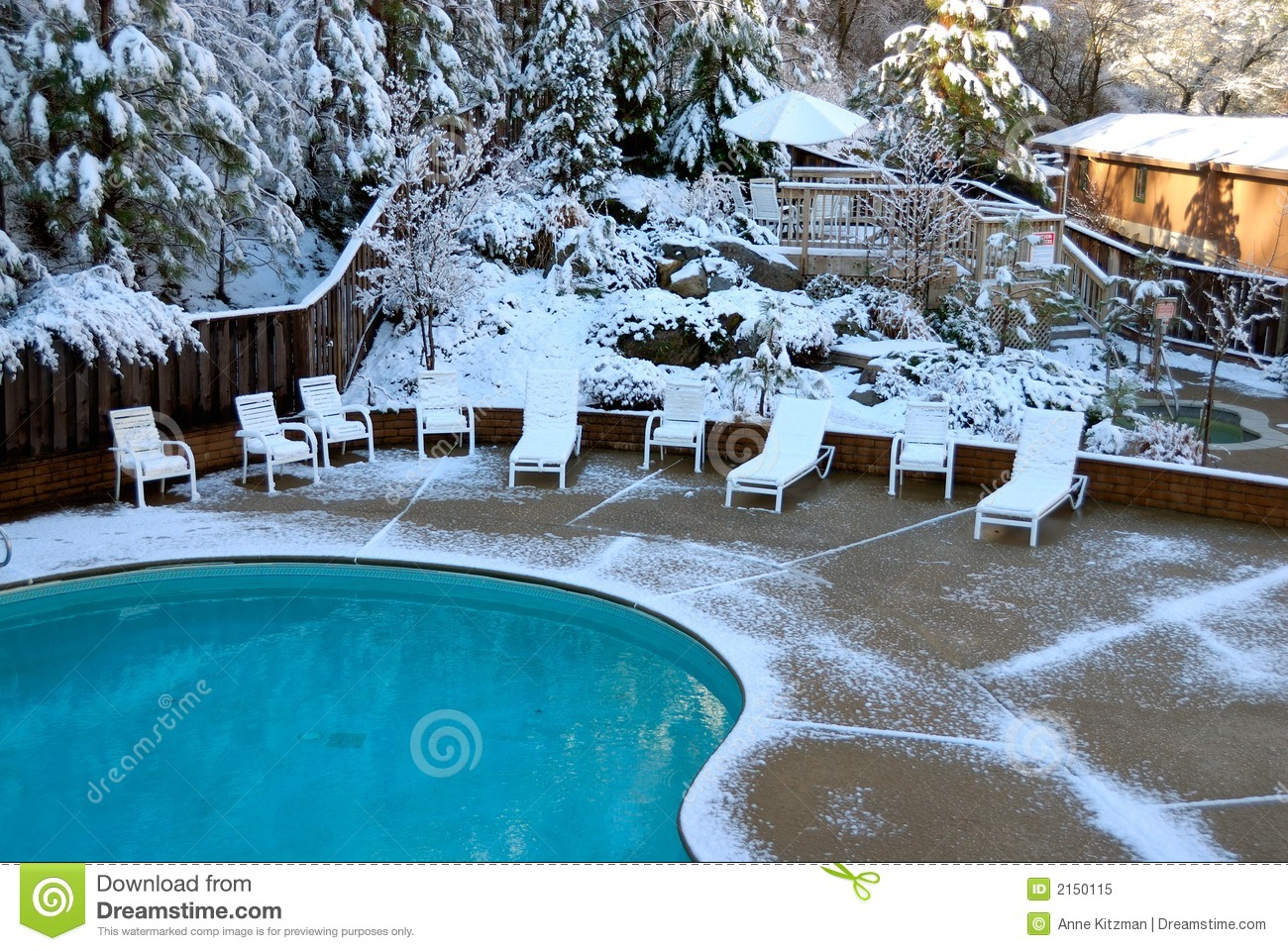 Snow covered pool stock image image of beauty cliffs 2150115 for Opening swimming pool after winter
