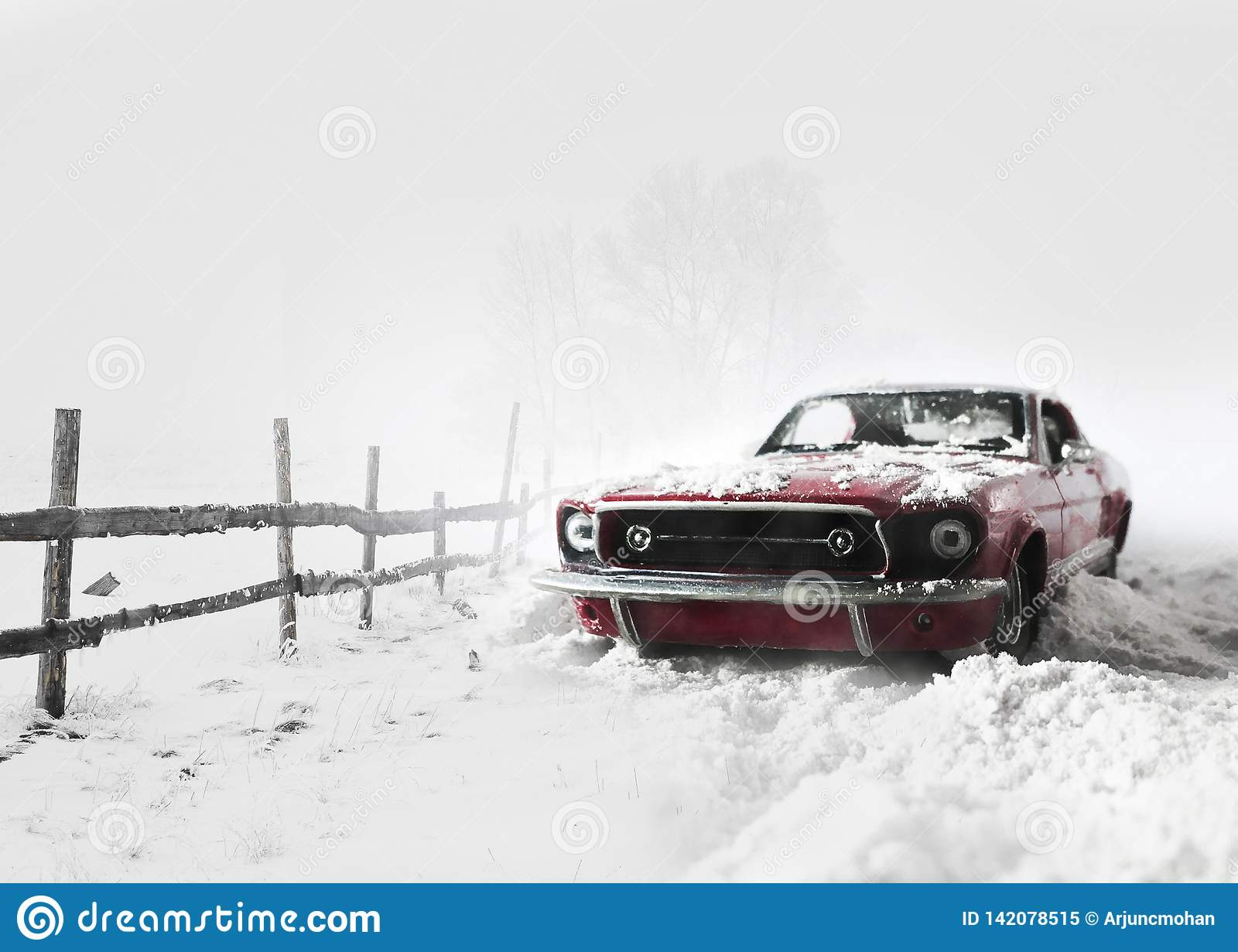 Snow covered Red car winter background.