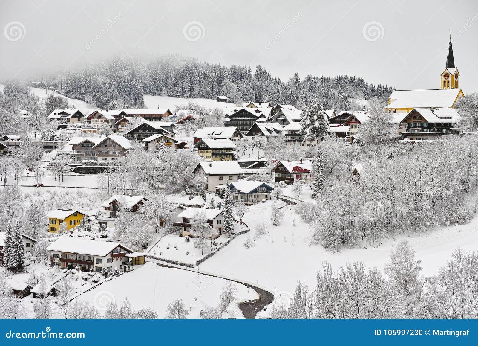 Snow-covered romantic German town landscape