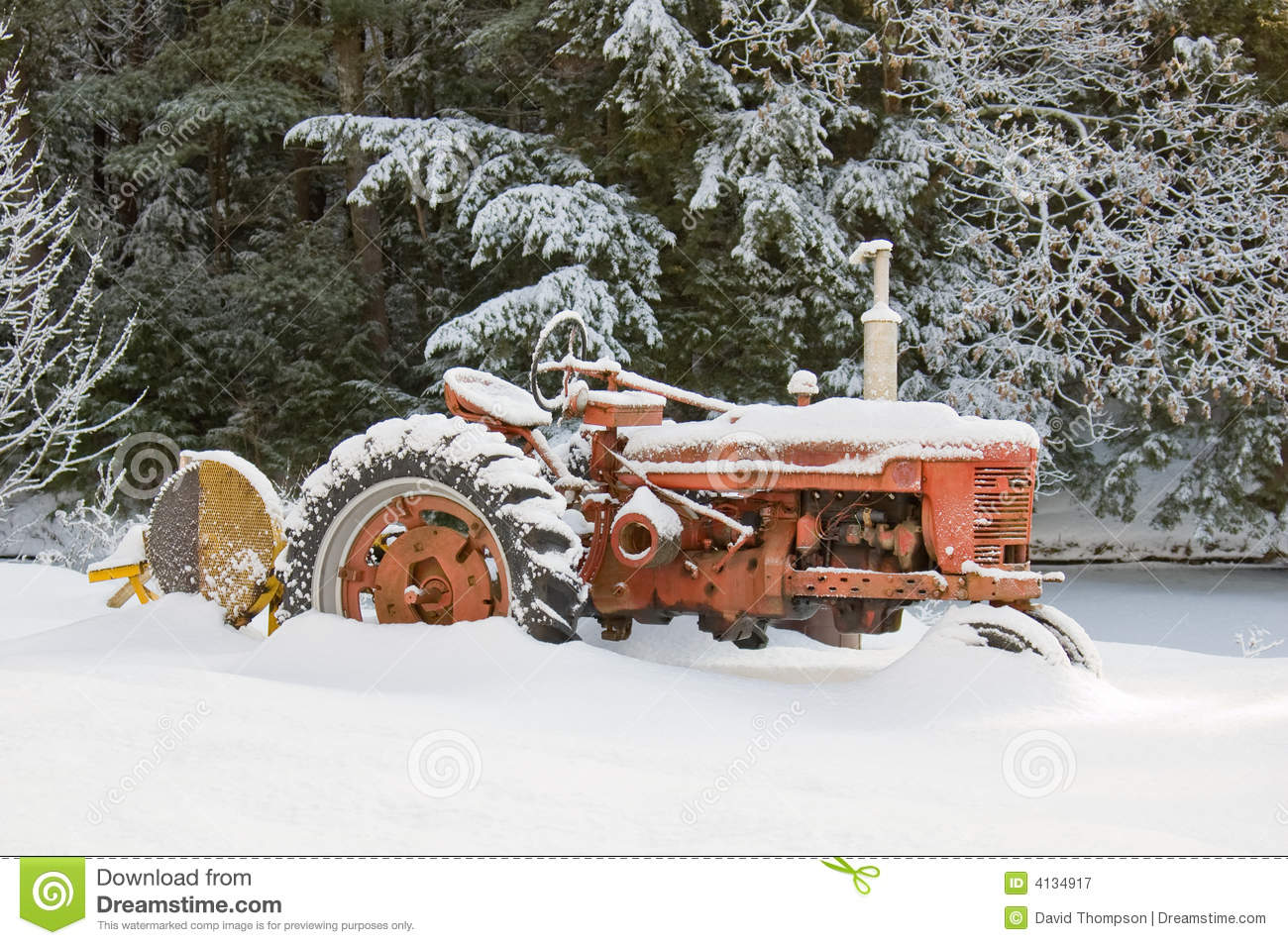 Snow Plow Prices >> Snow Covered Rustic Farm Tractor Stock Image - Image of tractor, plow: 4134917