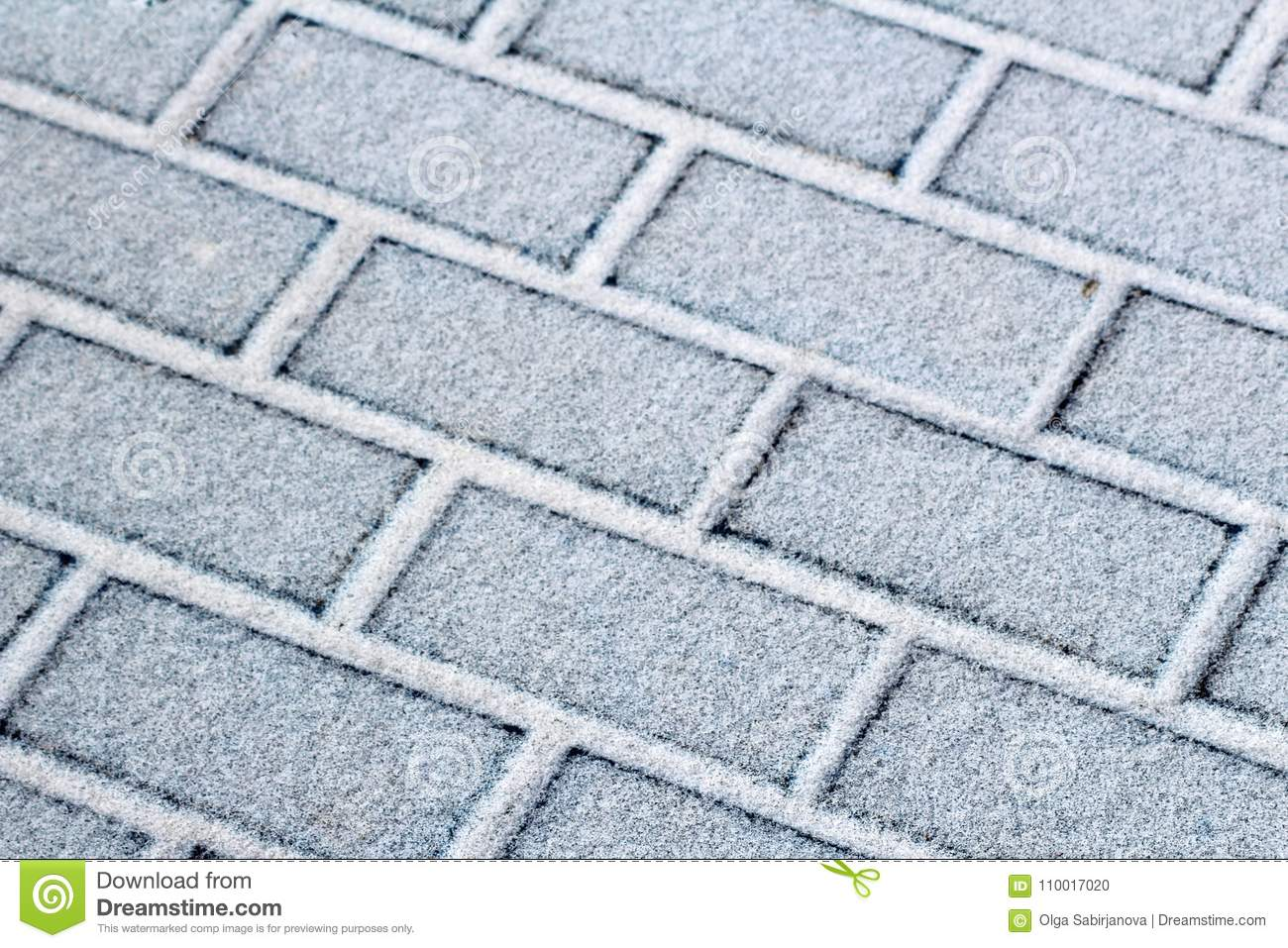 Snow Covered Small Paving Tiles, The Slabs After A Snowfall. Winter ...