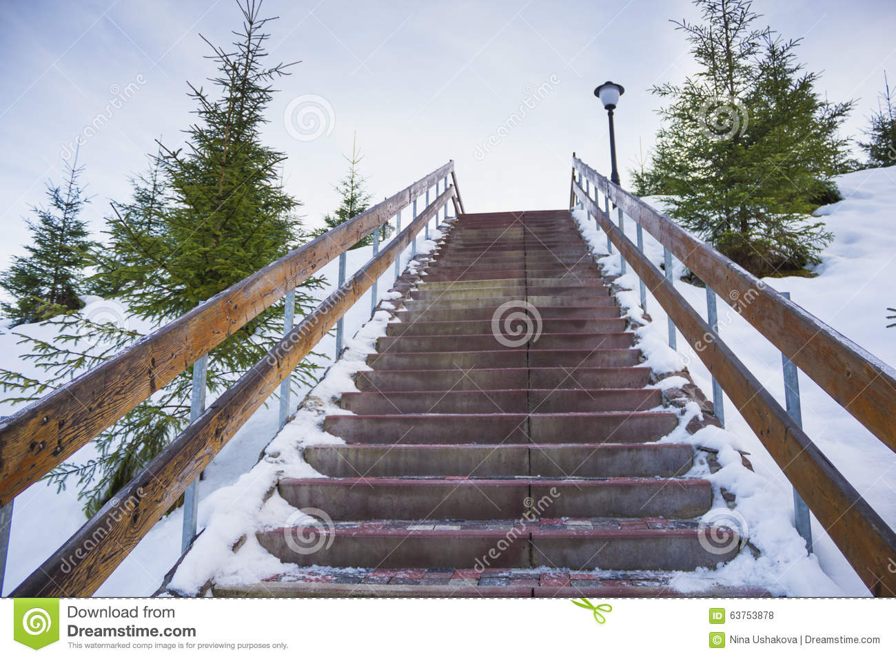 Snow-covered stairway to heaven