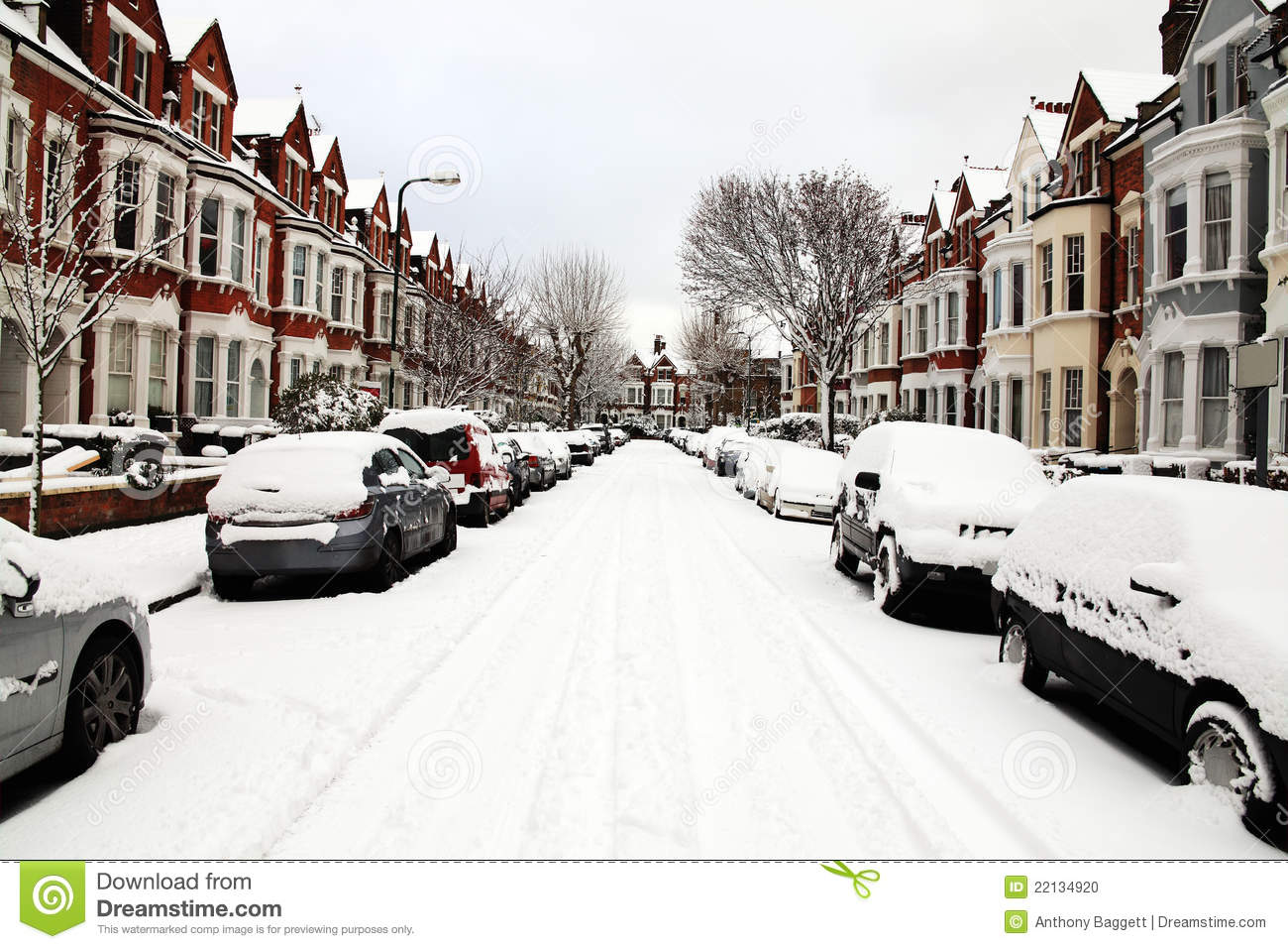 Snow Covered Street stock photo. Image of outdoors, snow ...