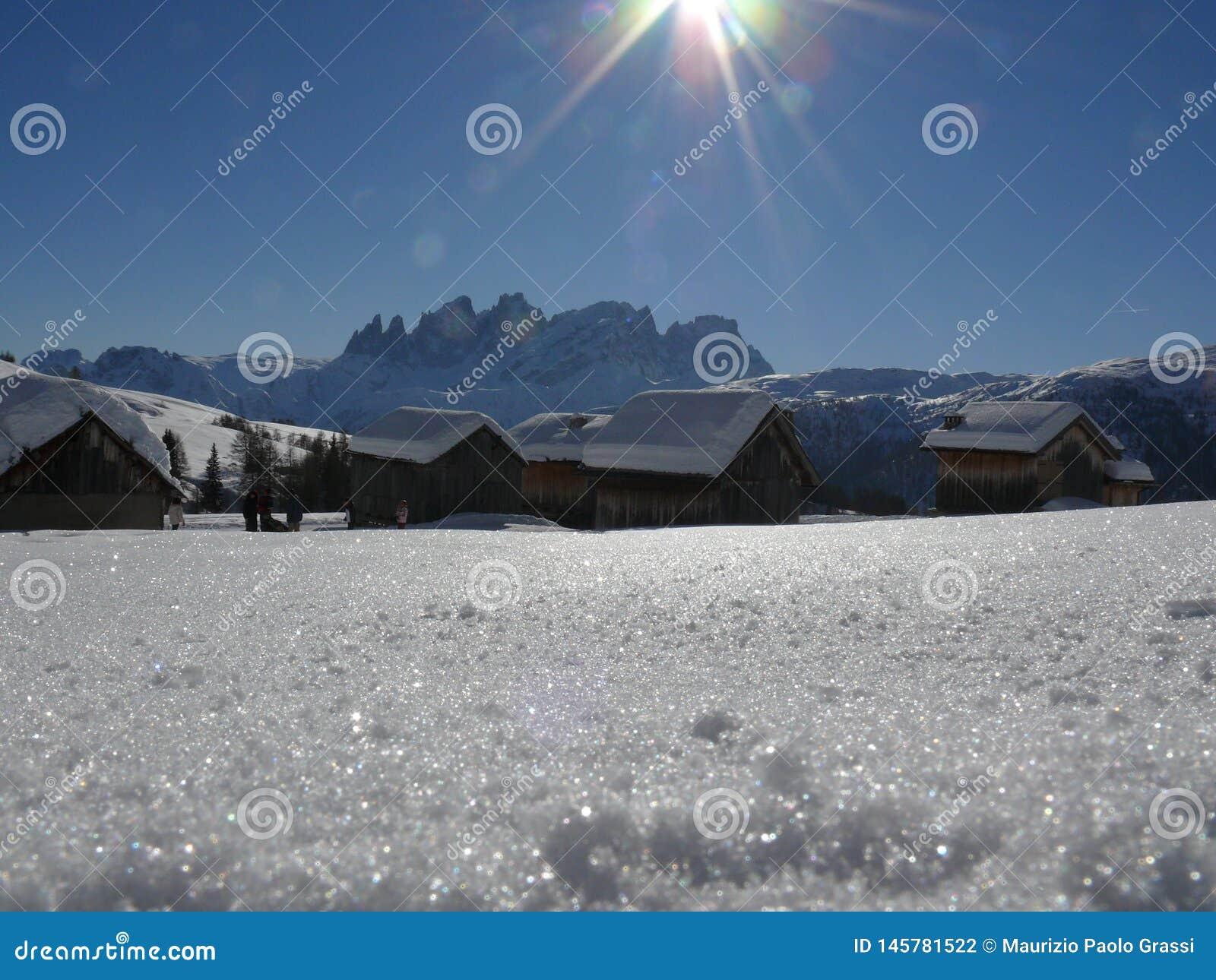 Alpine landscape of the Dolomites with snow. Trentino