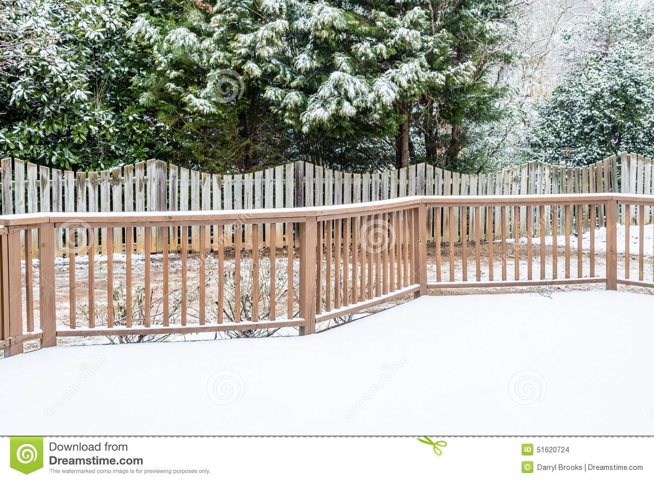 Download Snow On Deck And Evergreens Stock Photo - Image of garden, snowy: 51620724