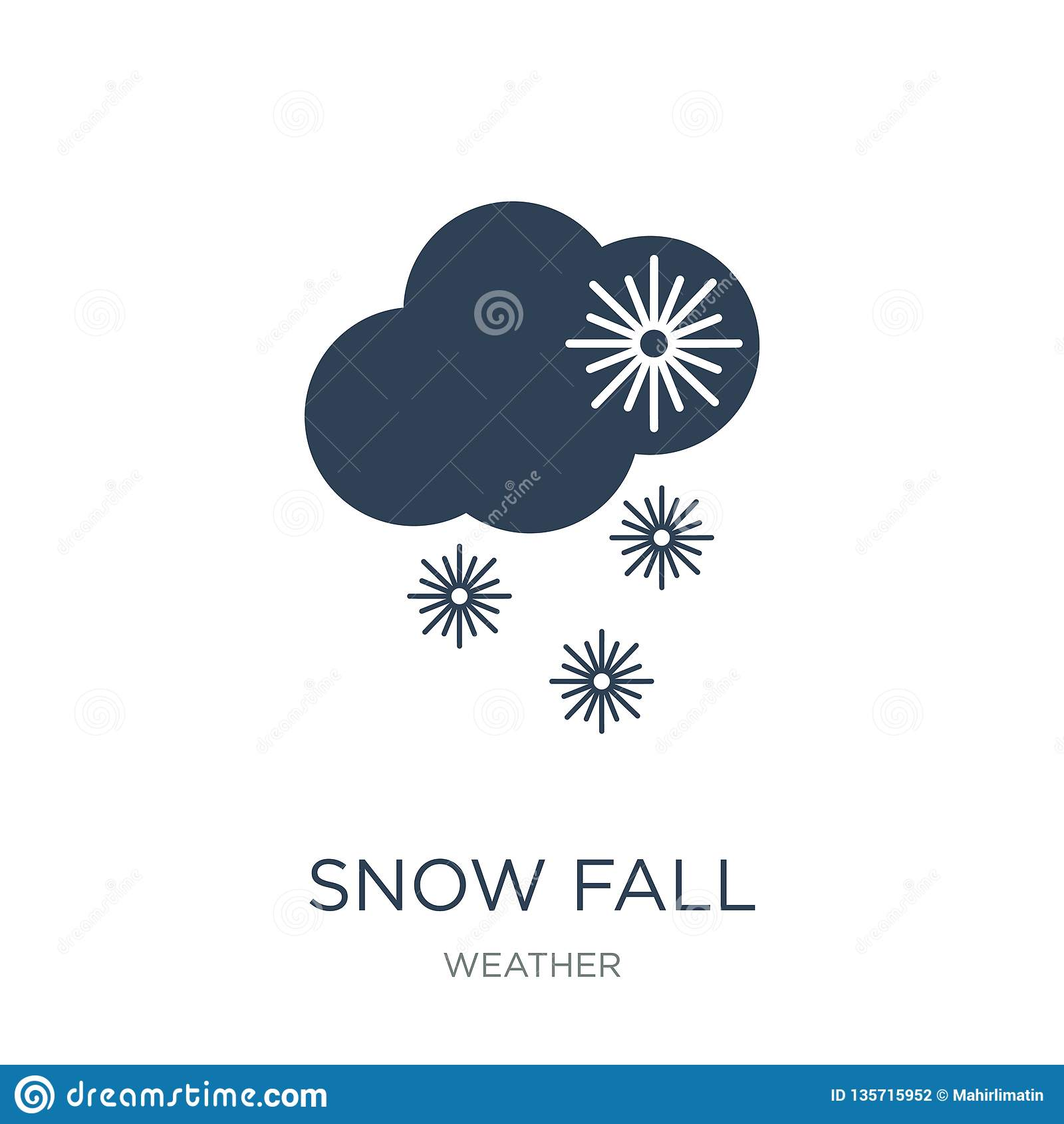 snow fall icon in trendy design style. snow fall icon isolated on white background. snow fall vector icon simple and modern flat