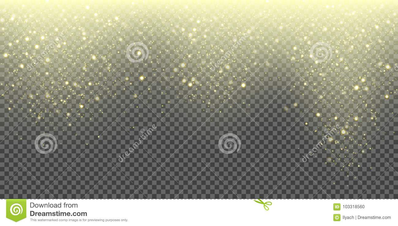 Snow falling vector background of golden sparkling snowfall and glittering snowflakes. Vector abstract glowing gold glitter