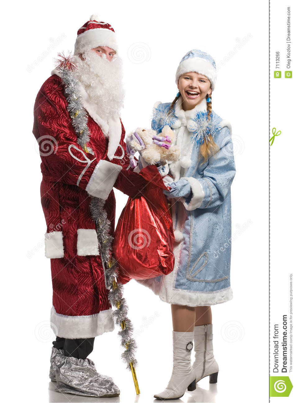 Snow girl and santa claus with gifts royalty free stock