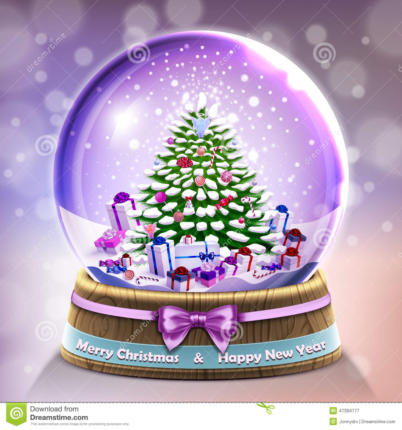 Snow glass crystal ball with christmas tree and gifts card
