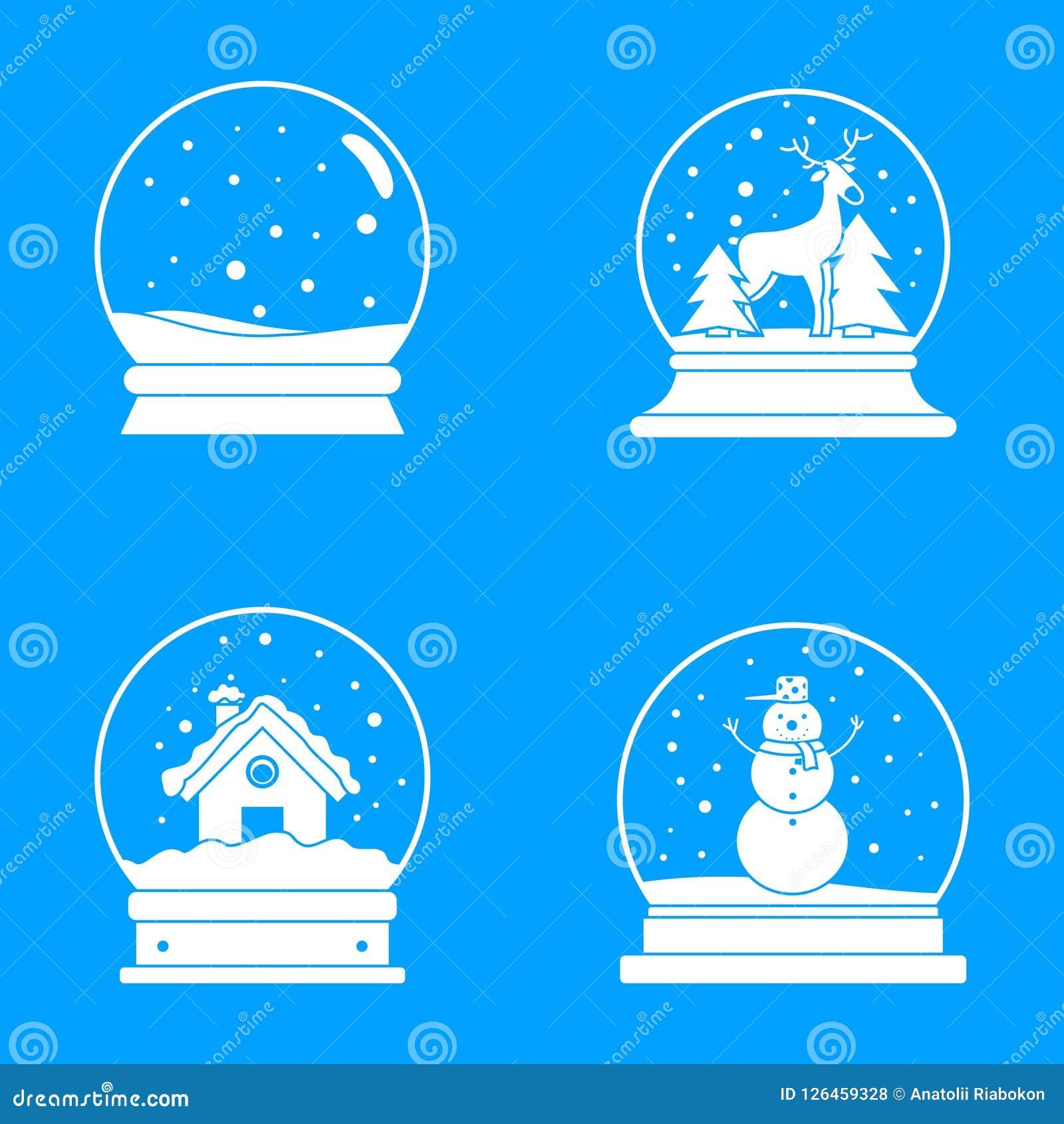 Snow globe ball christmas icons set, simple style