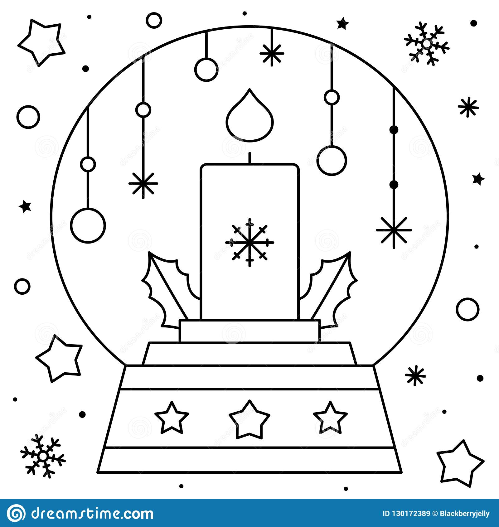 Snow Globe With A Candle Coloring Page Black And White