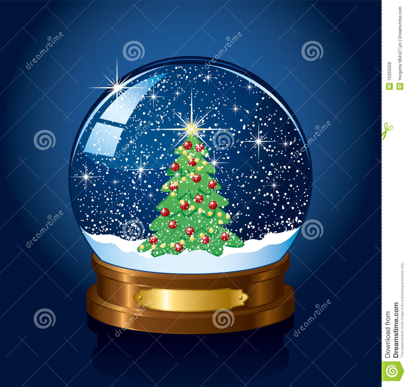 download snow globe with christmas tree stock vector illustration of cold night 15250558