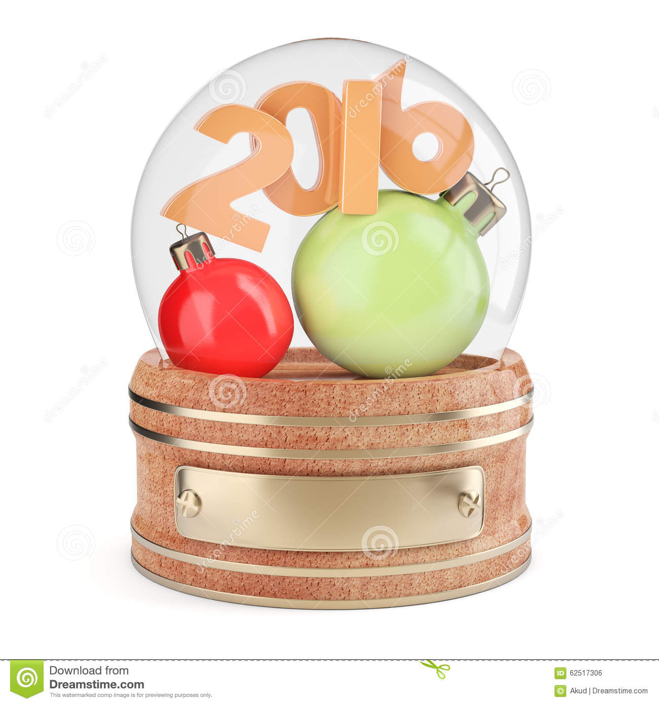 Snow Globe With 2016 Digits And Christmas Bauble Stock Illustration ...