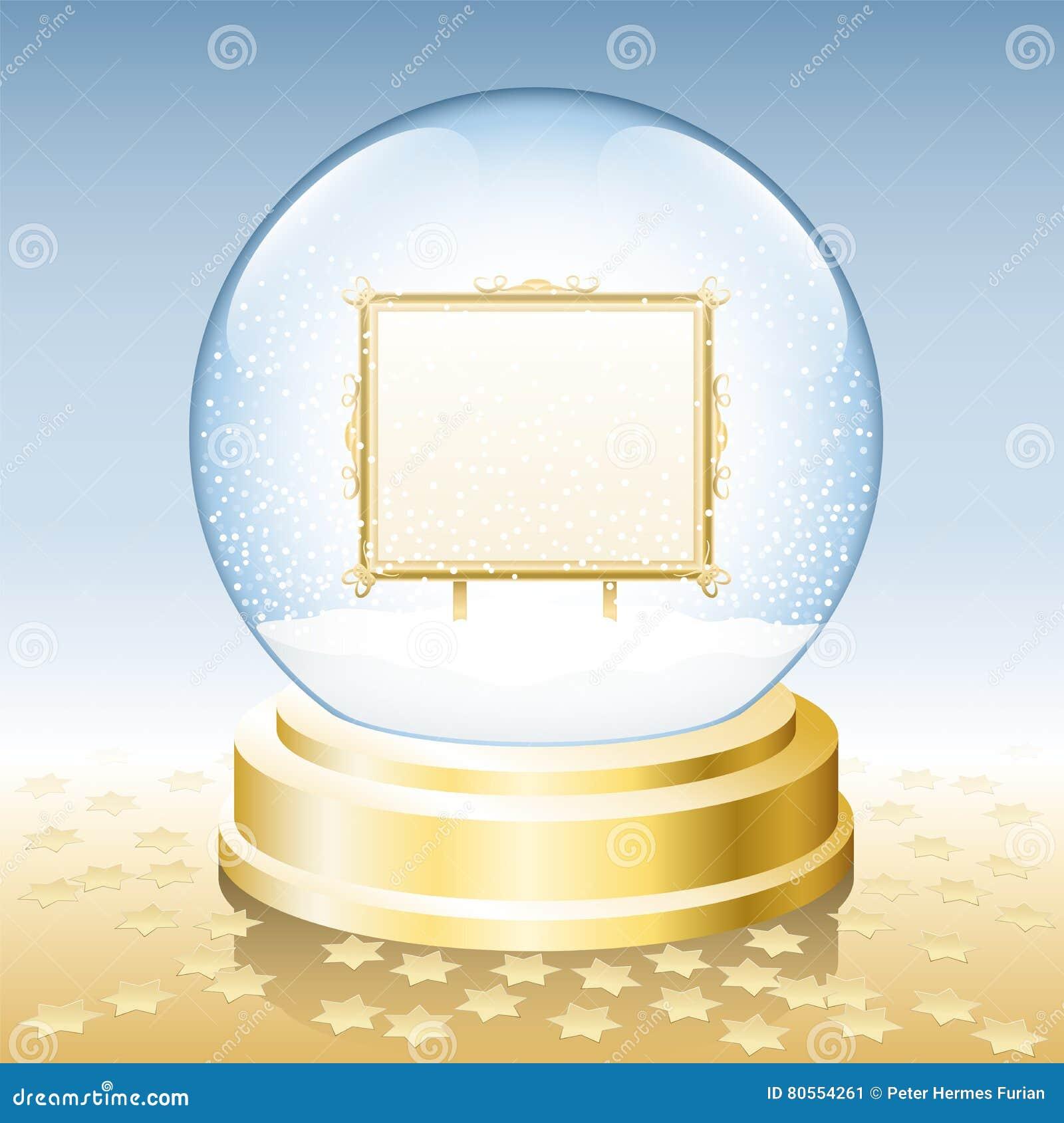 Snow Globe Golden Frame Blank Stock Vector - Illustration of gold ...