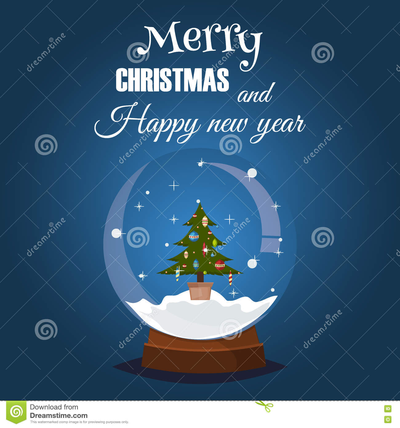 Snow Globe Happy Holidays Greeting Card Stock Illustration