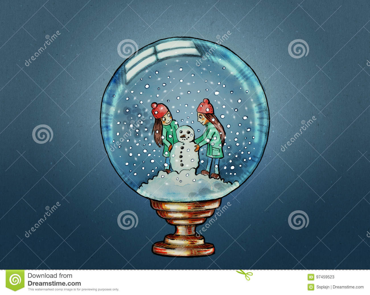 snow globe illustration stock illustration illustration of