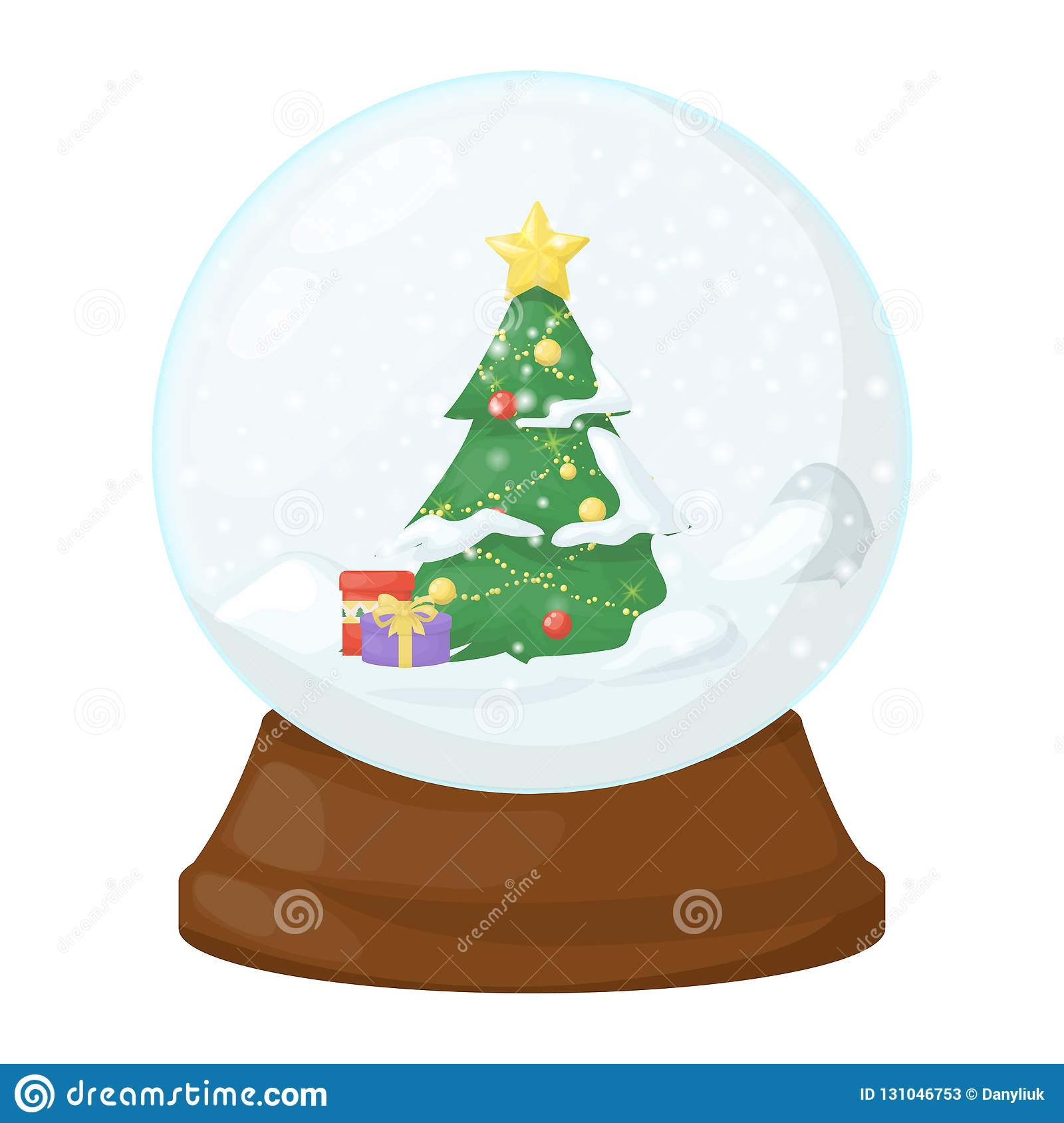 Christmas In Evergreen Snow Globe.Snow Globe Vector Illustration Crystal 3d Sphere