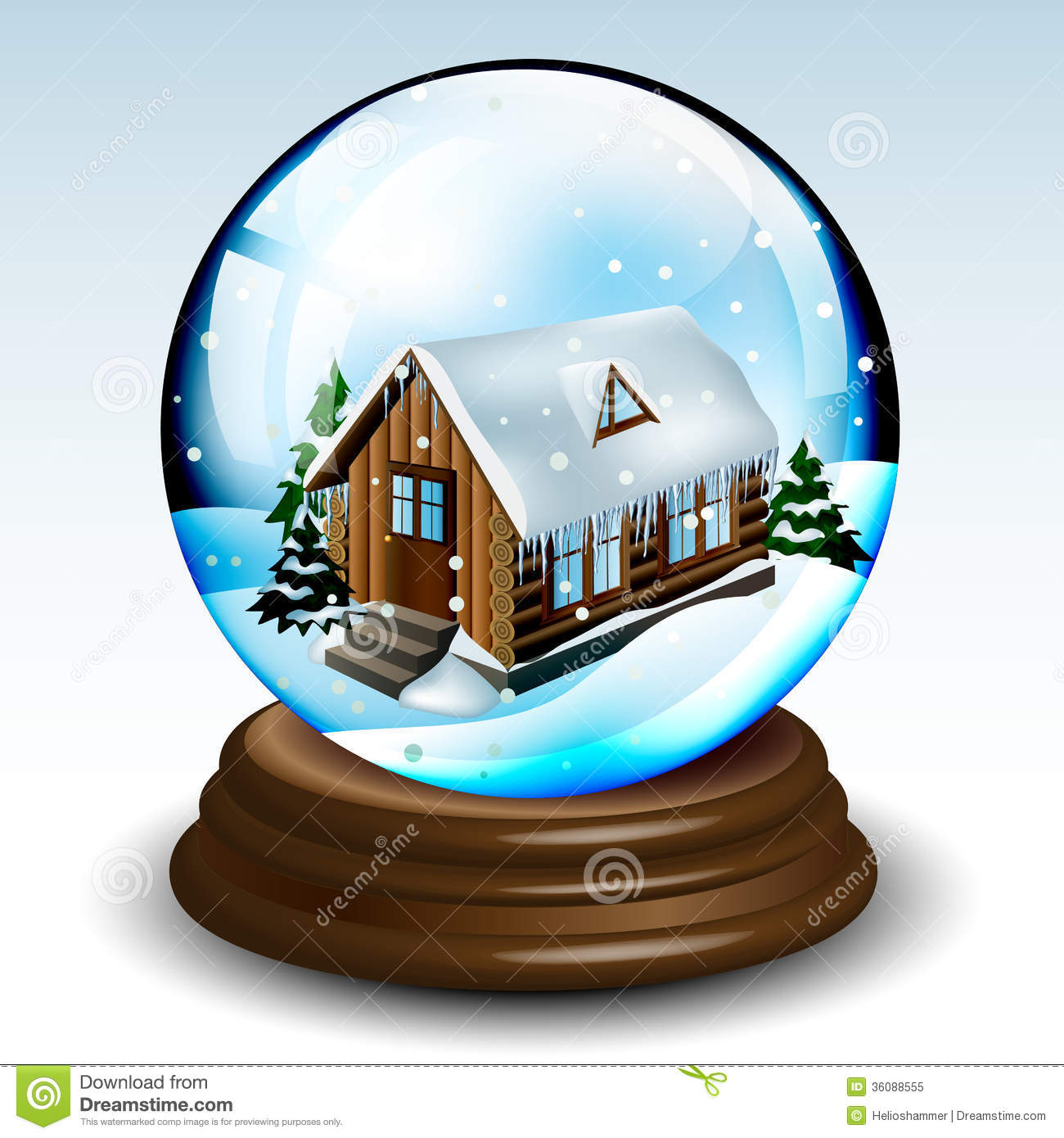 Snow globe with winter landscape, house and pines on wood base eps10.