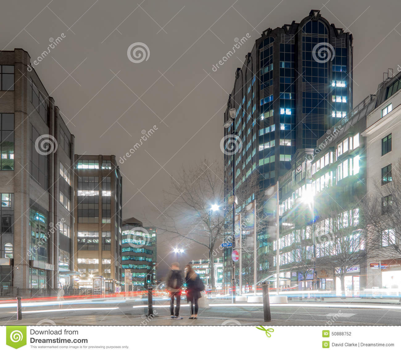Snow Hill, Birmingham City At Night Editorial Photography