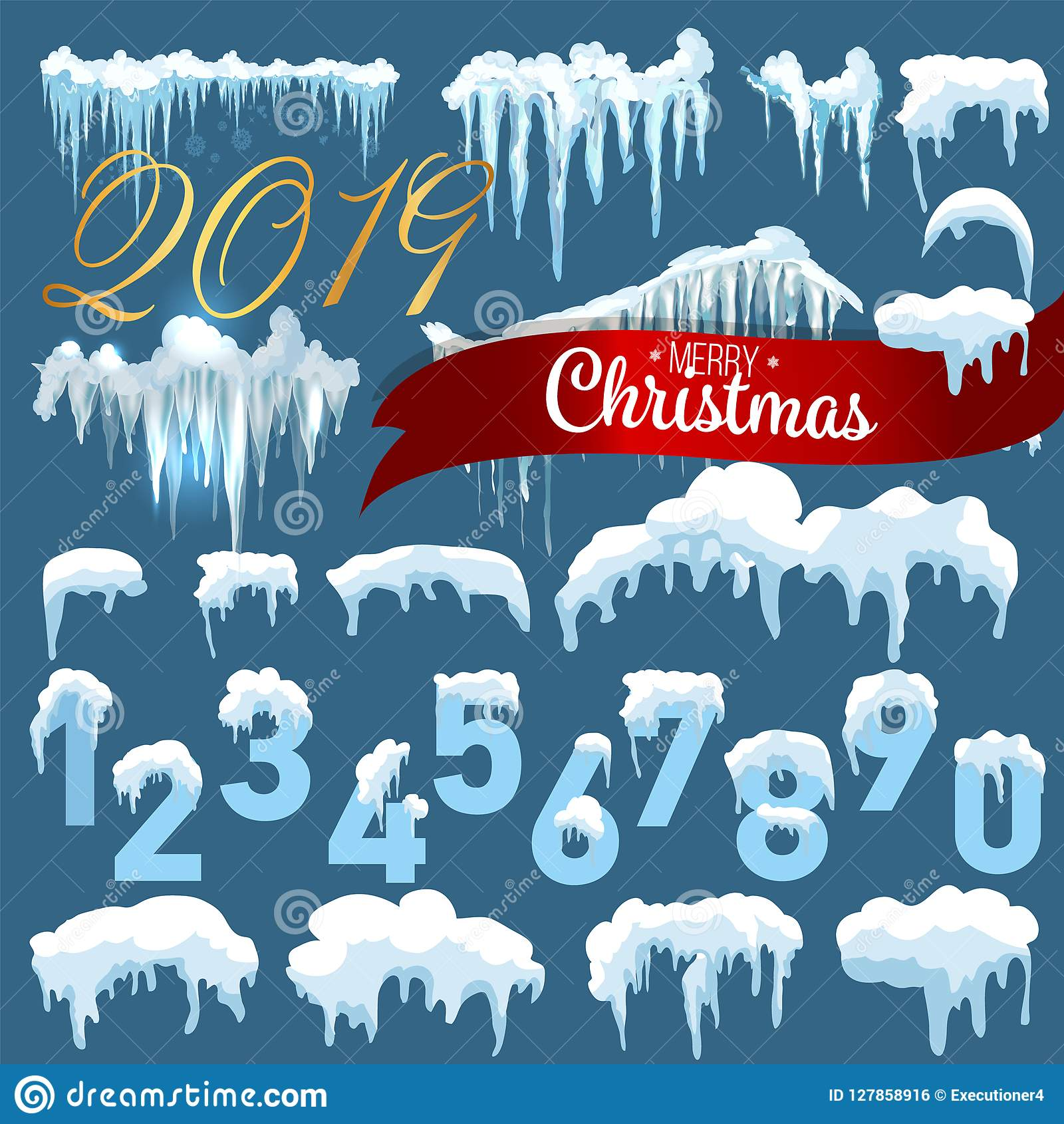 snow ice icicle set winter design 2019 christmas snow template