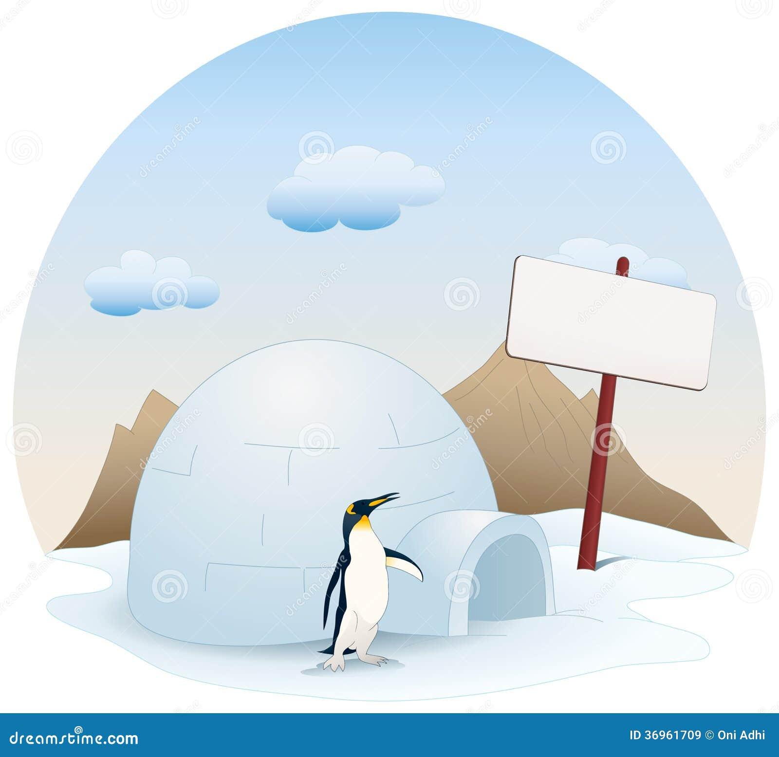 Snow igloo house on white snow