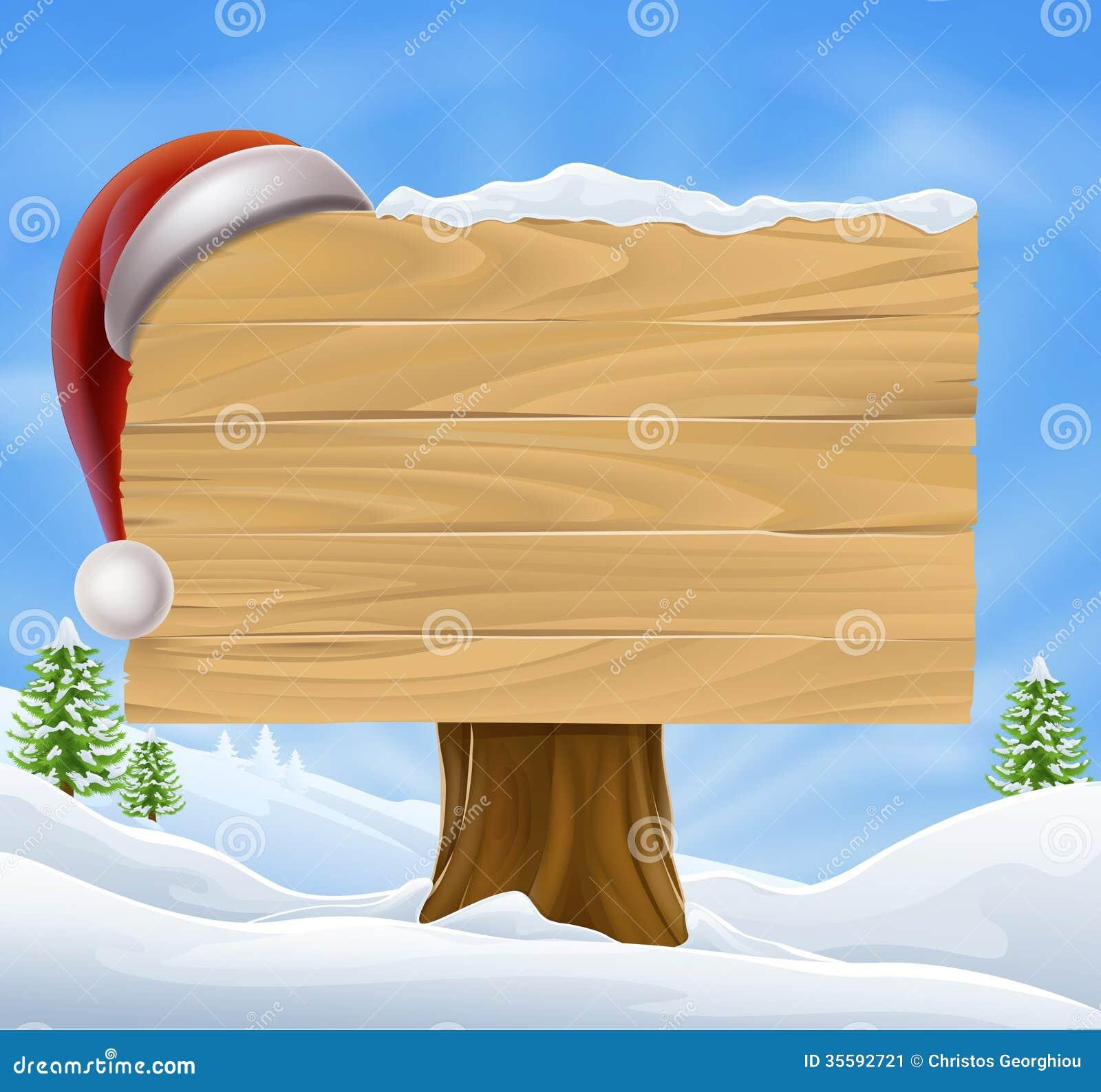 Snow Landscape Christmas Santa Hat Sign Stock Image