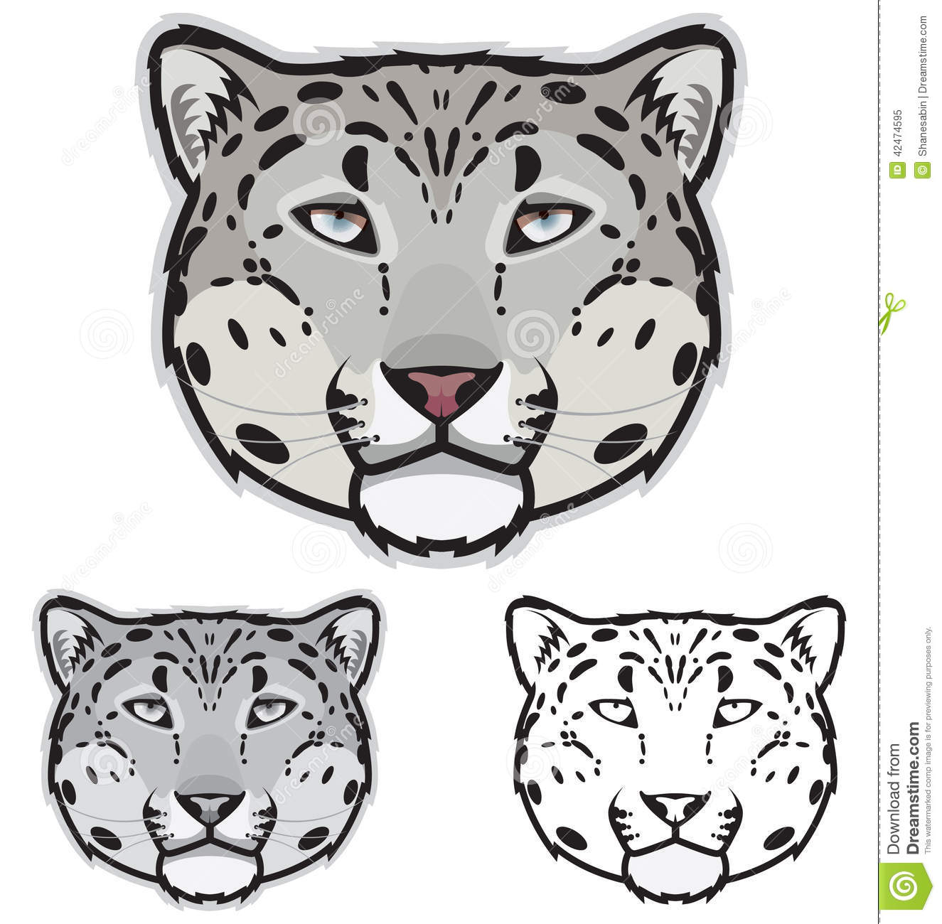 Snow Leopard Faces stock vector. Illustration of leopard - 42474595 for Leopard Clipart Black And White  173lyp