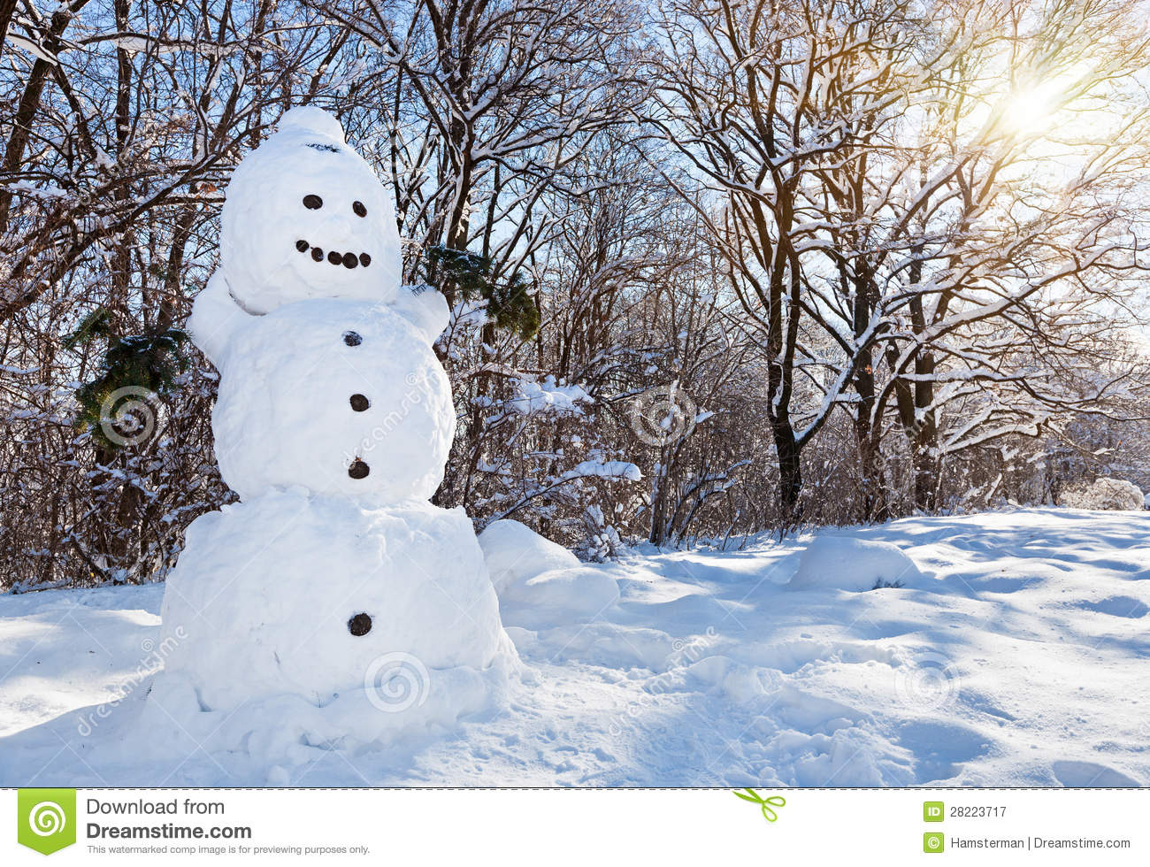 Snow man in winter forest royalty free stock photography - Bonhomme de neige decoration exterieure ...