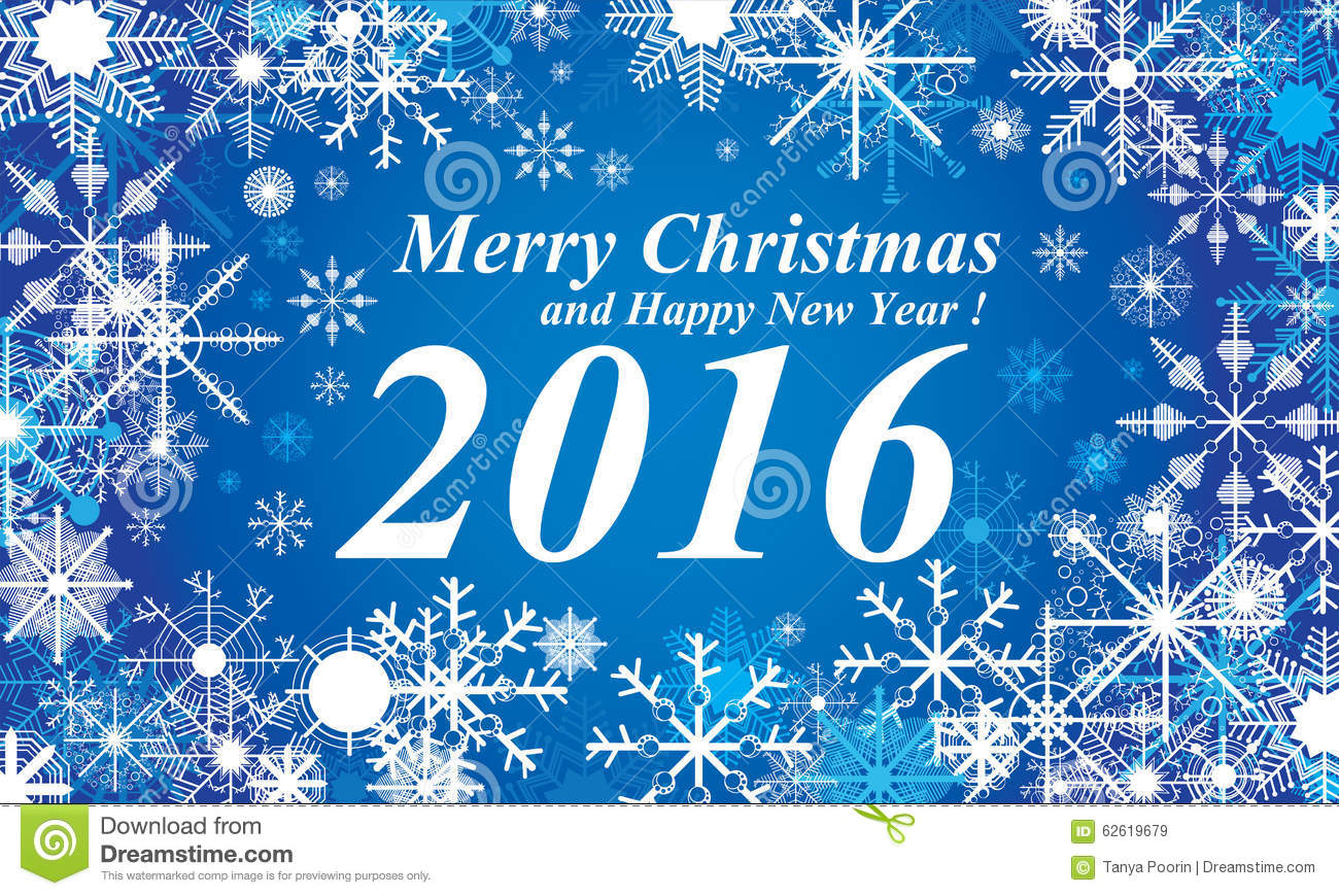 Snow, Merry Christmas And Happy New Year 2016 Blue