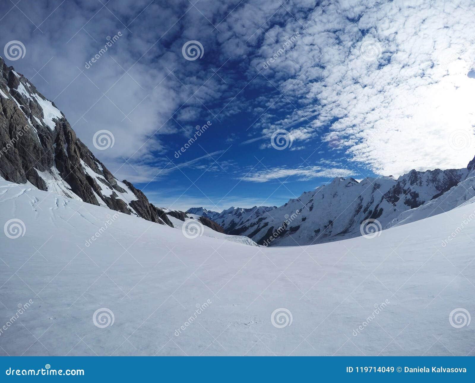Snow/mountain background for mountain lovers. Contrast of white snow and blue sky on the Tasman Glacier at Aoraki/Mount Cook Natio