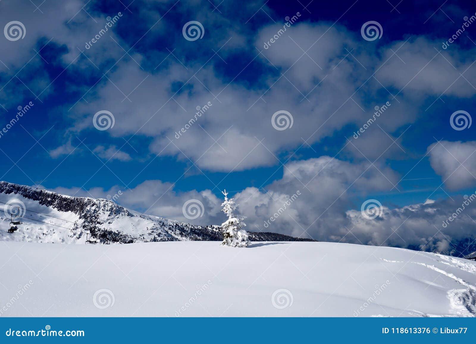 Snow Mountain Landscape sun at winter