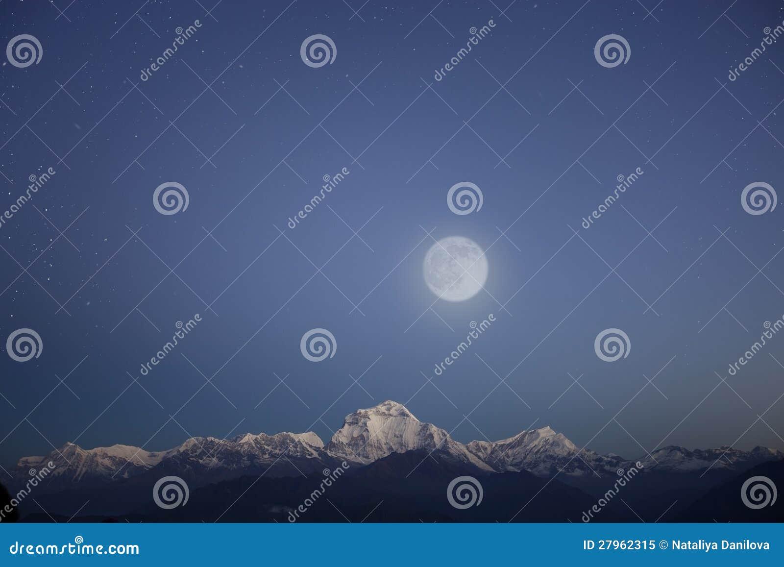 Snow mountain range under stars sky
