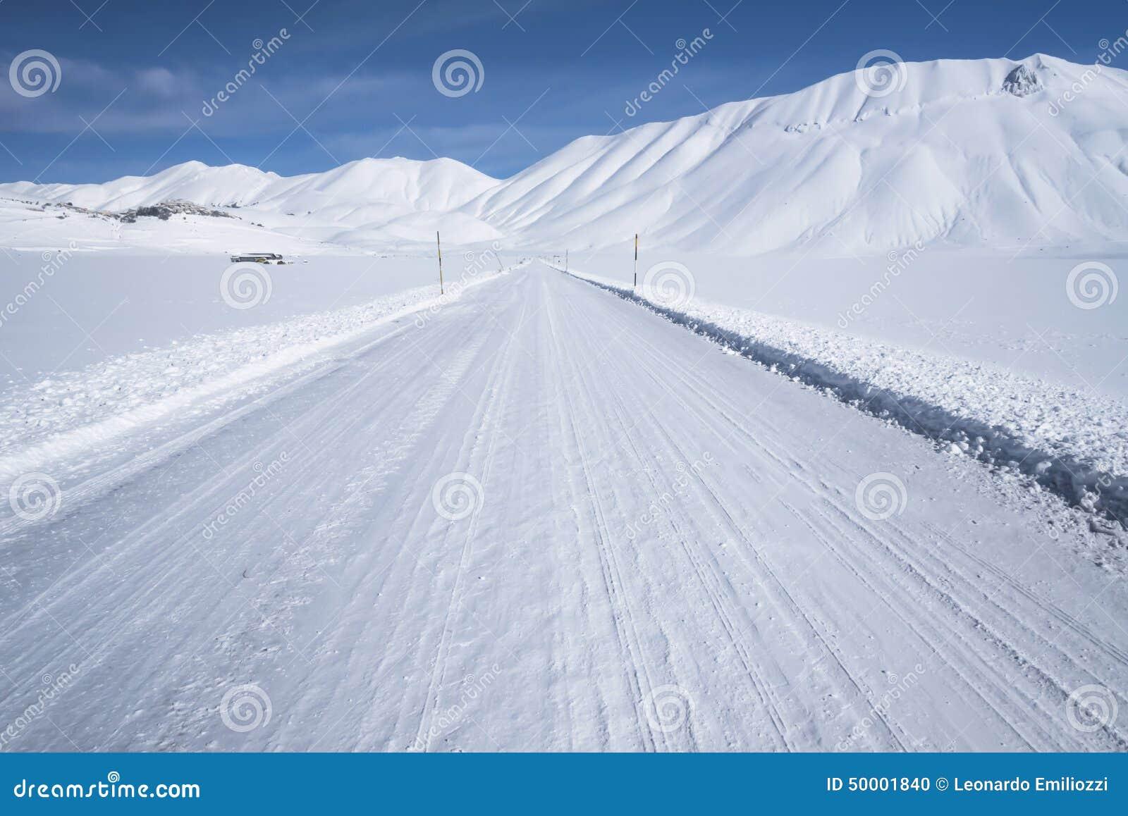 Snow Mountain Scenery , Winter Road, Stock Photo - Image ...