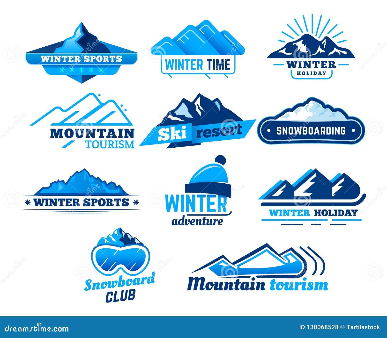 Snow Mountain Sign Winter Landscape Logo Mountains Symbol Ski Or