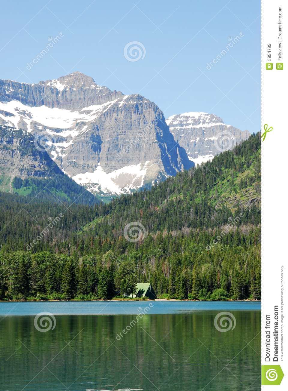 Snow mountains and lake