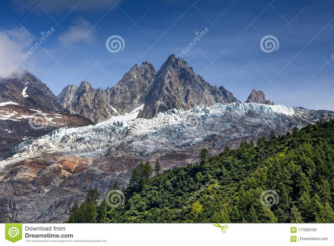 Snow in the mountains in summer.