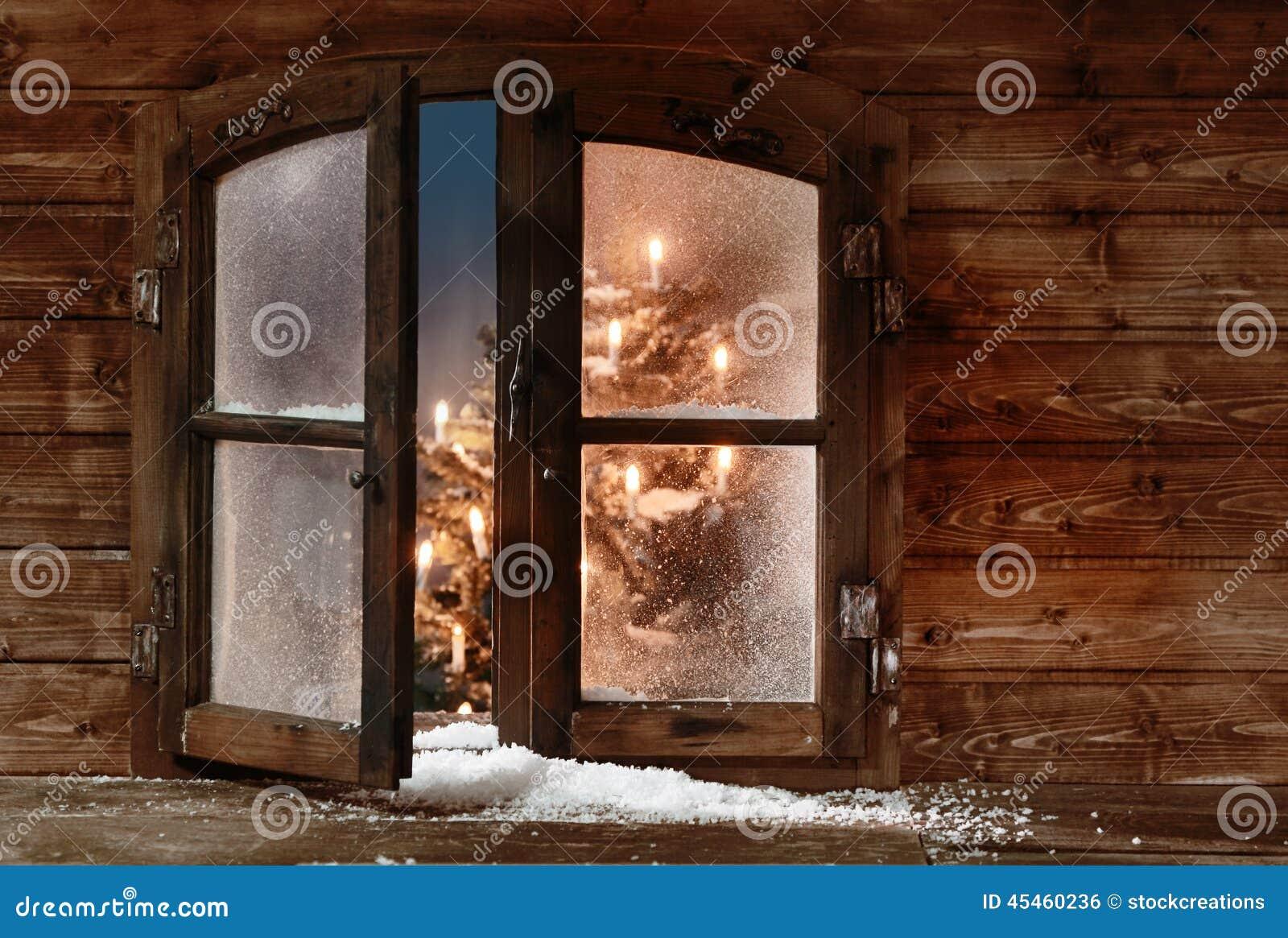 Snow At Open Wooden Christmas Window Pane Stock Photo