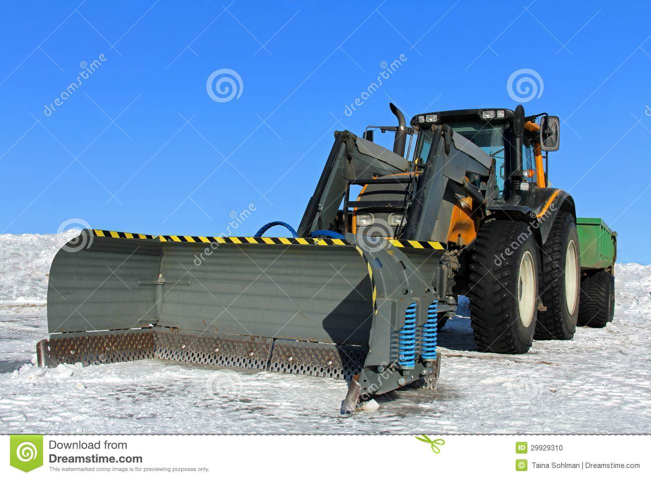 Front Mount Tractor Snow Plow : Tractor and snow plow stock photo image