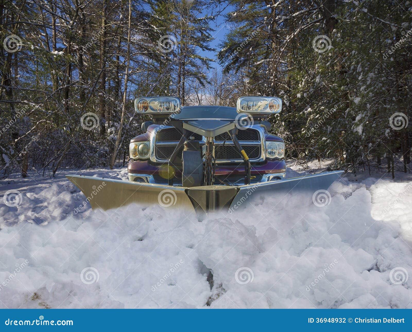 Snow Plow Truck Stock Photo Image Of Frost Street Beacon 36948932