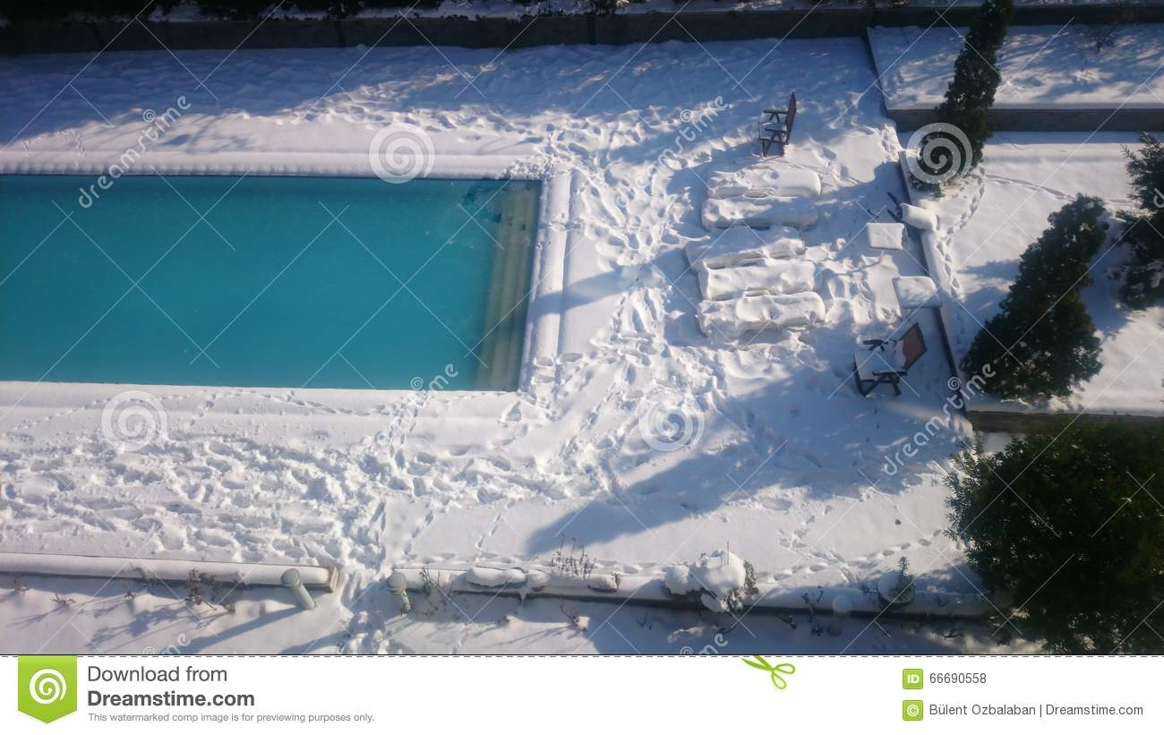 Snow and pool stock photo image 66690558 for Winter garden pool