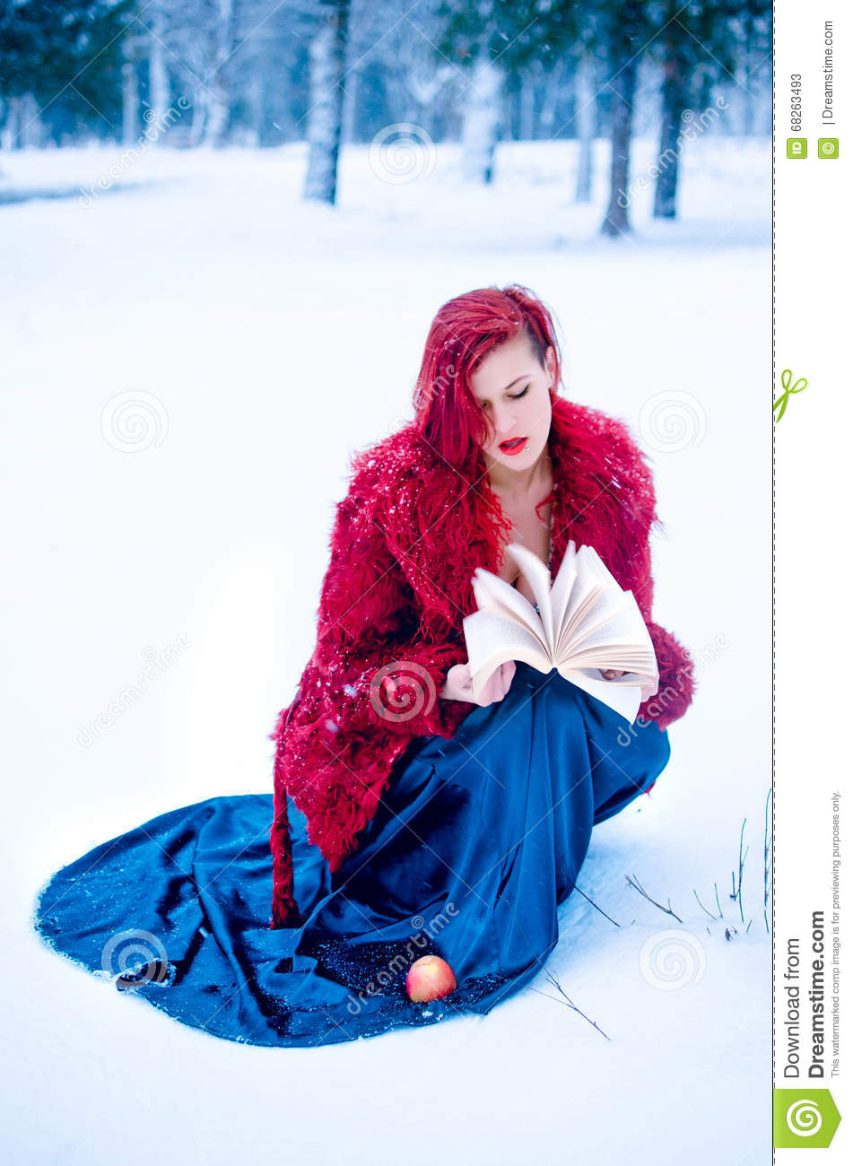 Snow Queen Winter Yong Girl In Forest Stock Photo