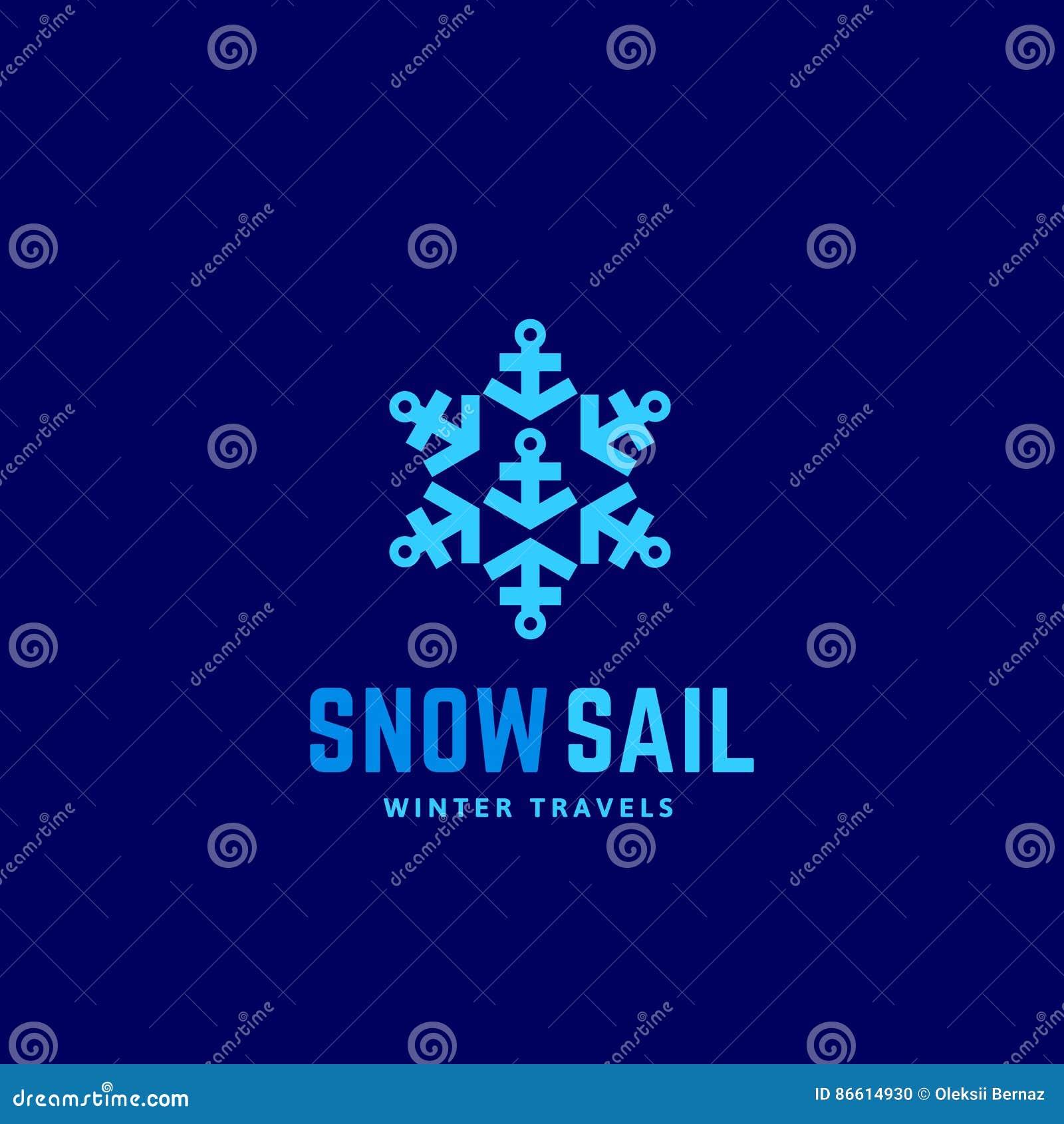 Snow Sail Winter Travels Abstract Vector Sign Emblem Or Logo