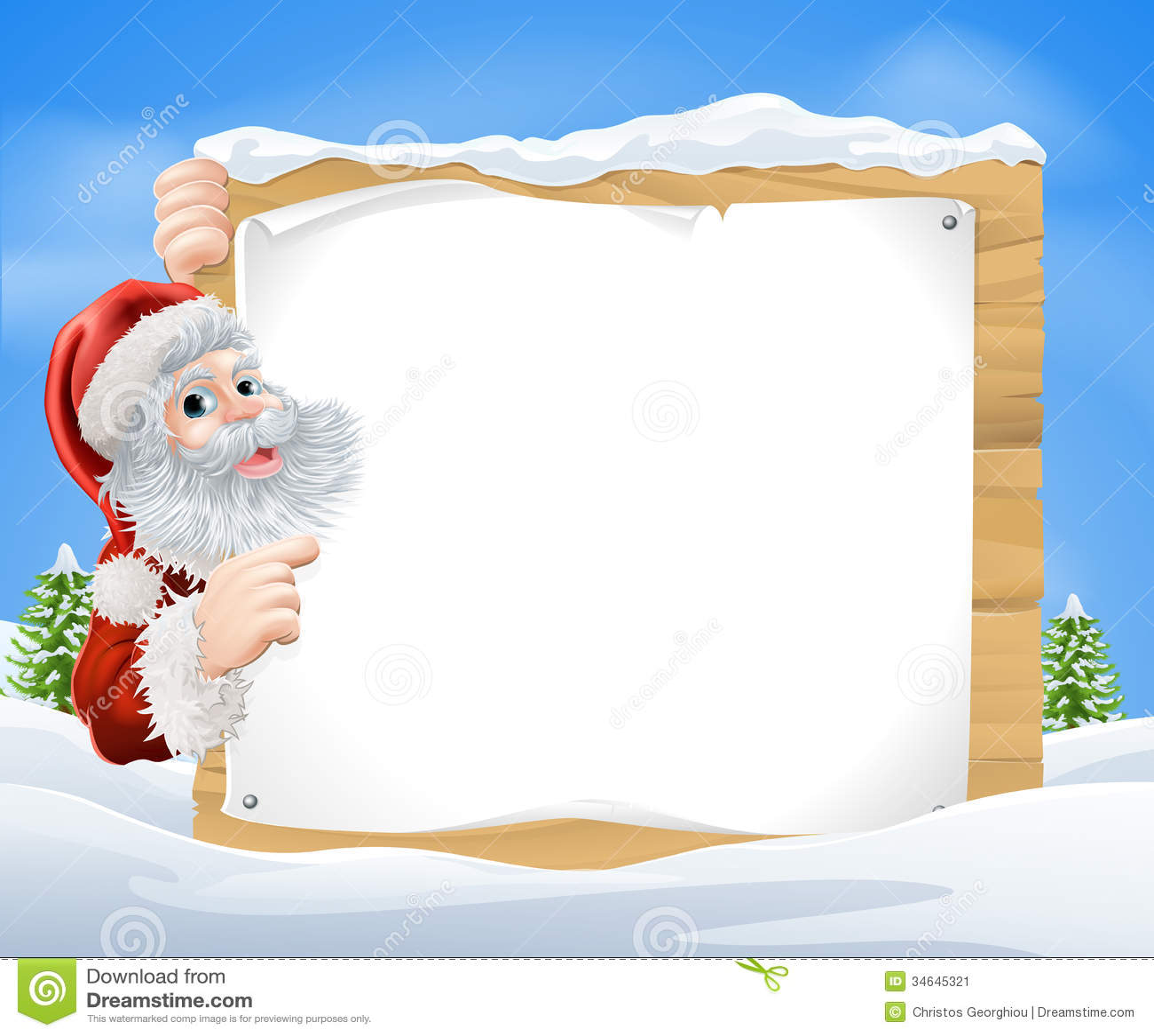 An illustration of a snow scene Christmas Santa sign with Santa Claus ...
