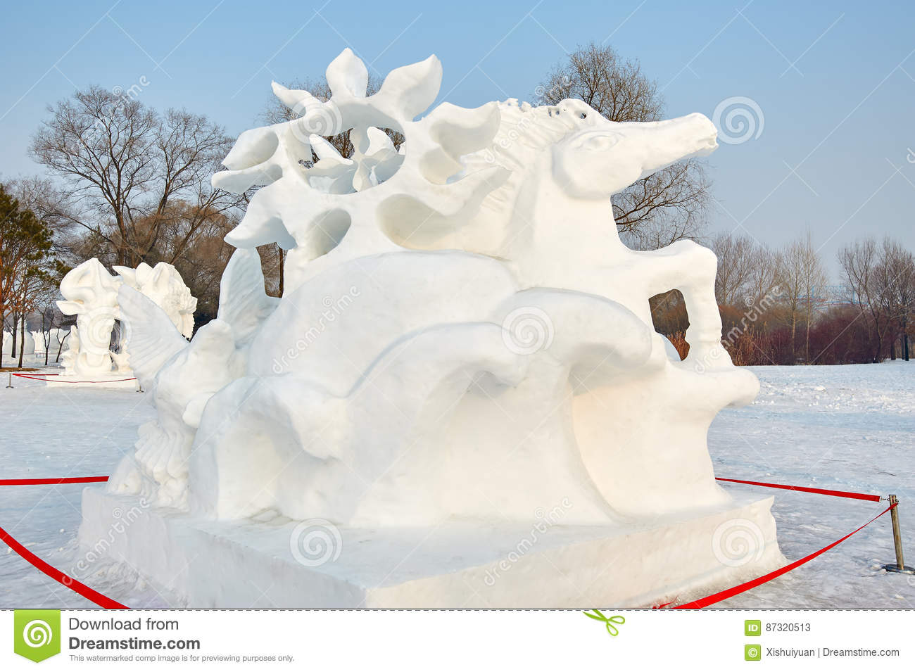 The Snow Sculpture The Horse Editorial Stock Photo Image Of Dream House 87320513
