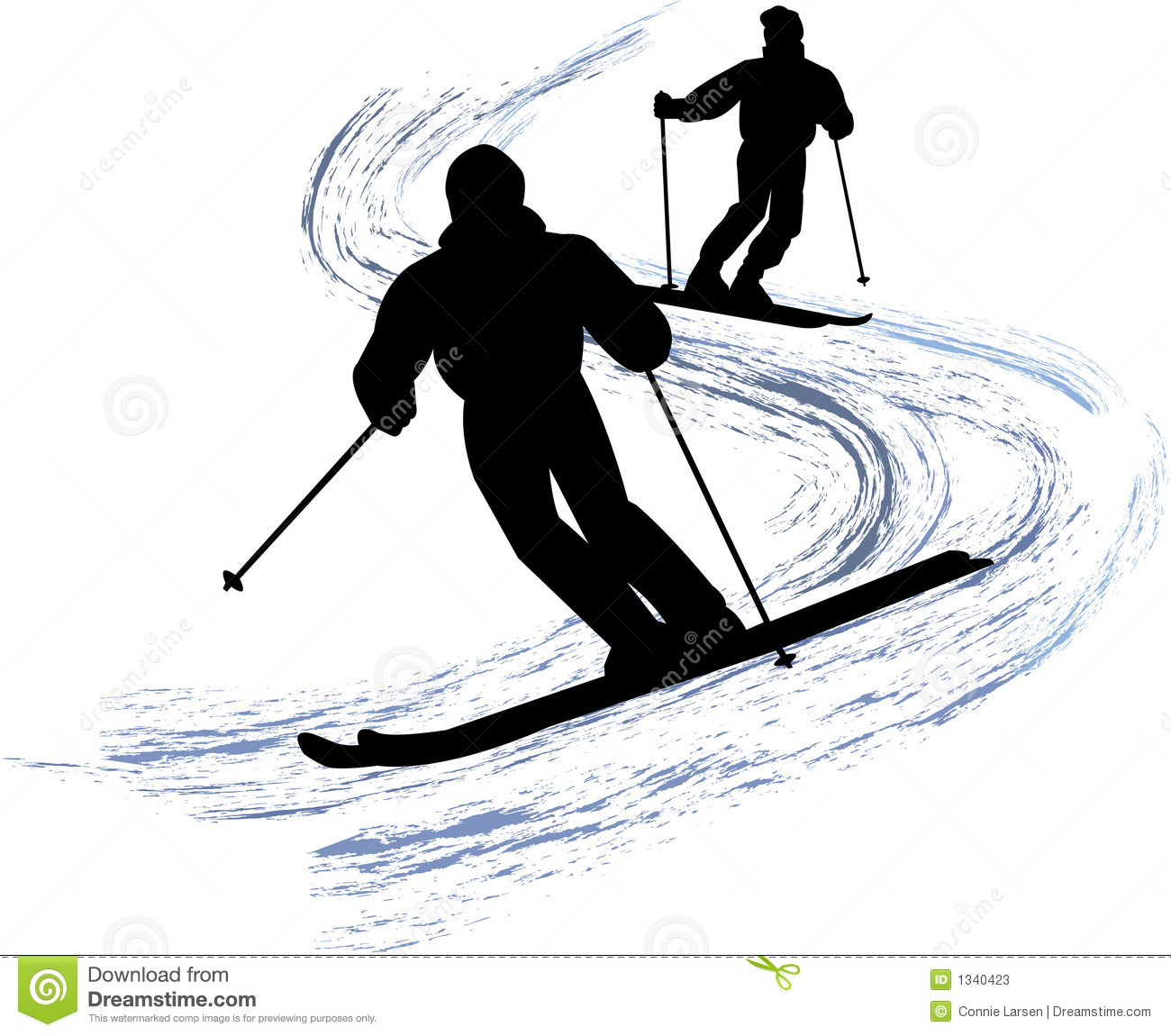 Illustration of a two people downhill skiing...eps available ...