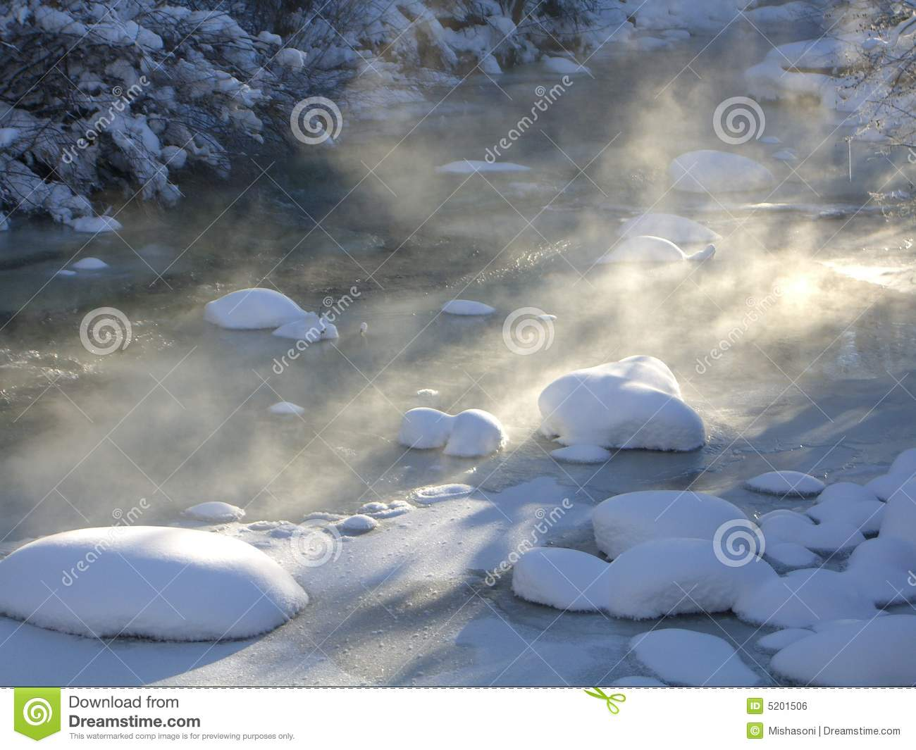 Snow And Sun On Frozen Rocky Mountain River Royalty Free