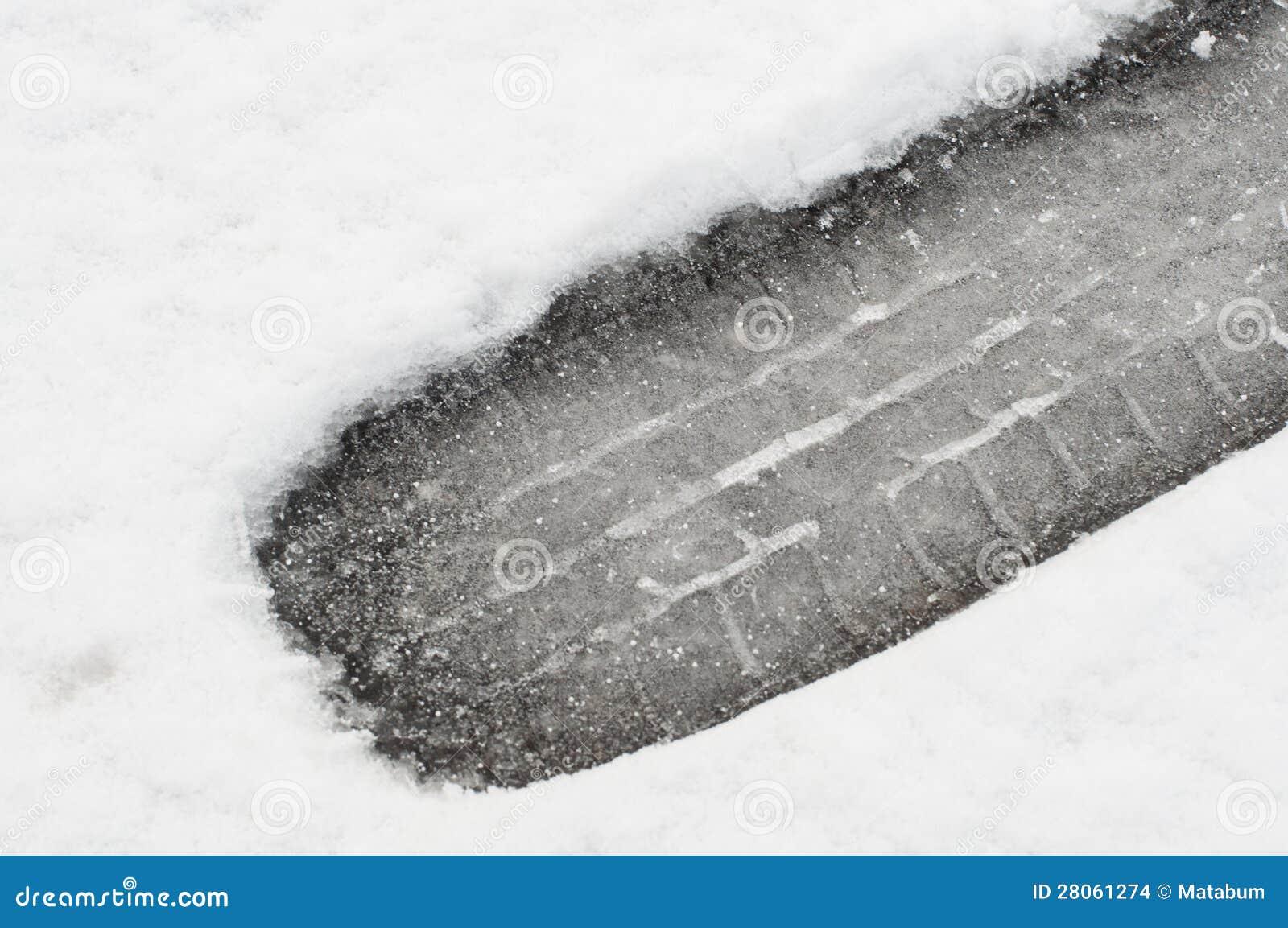 Snow tyre print closeup
