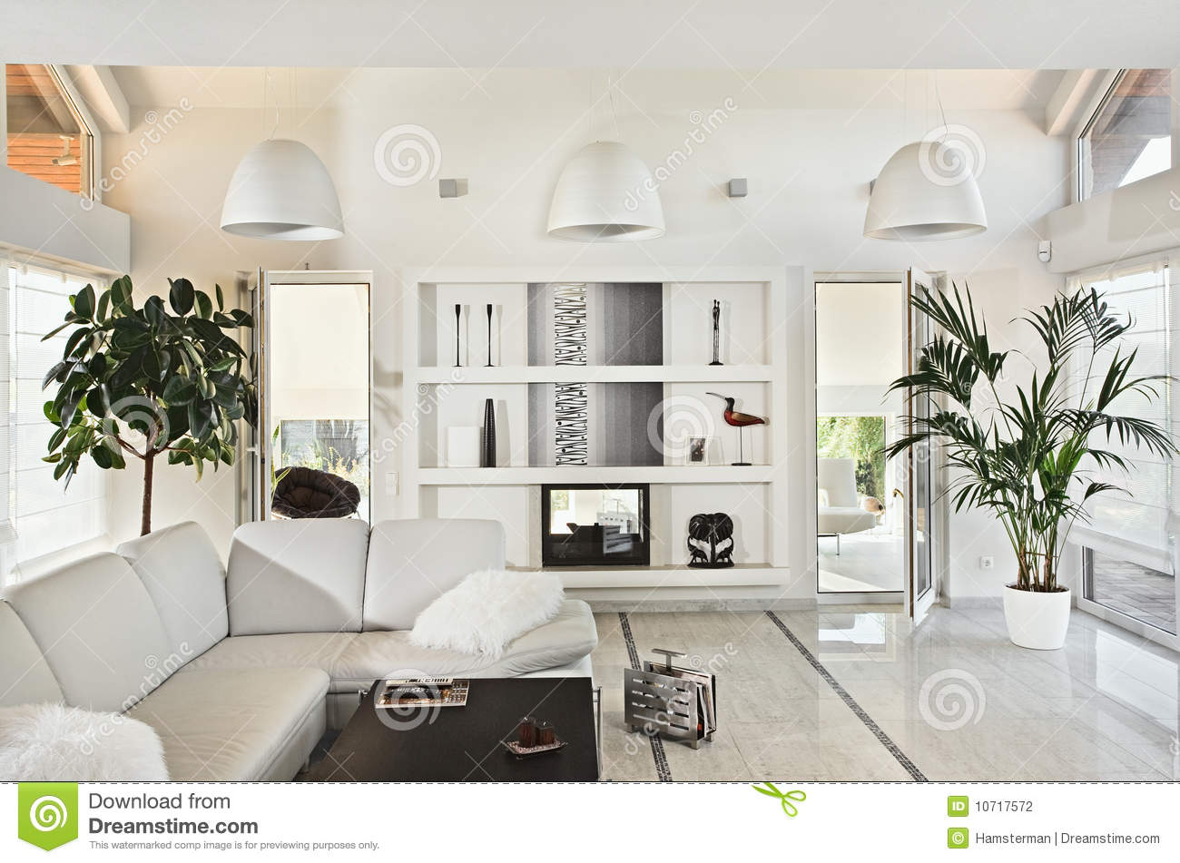 Snow White Living Room Modern Interior Stock Photography