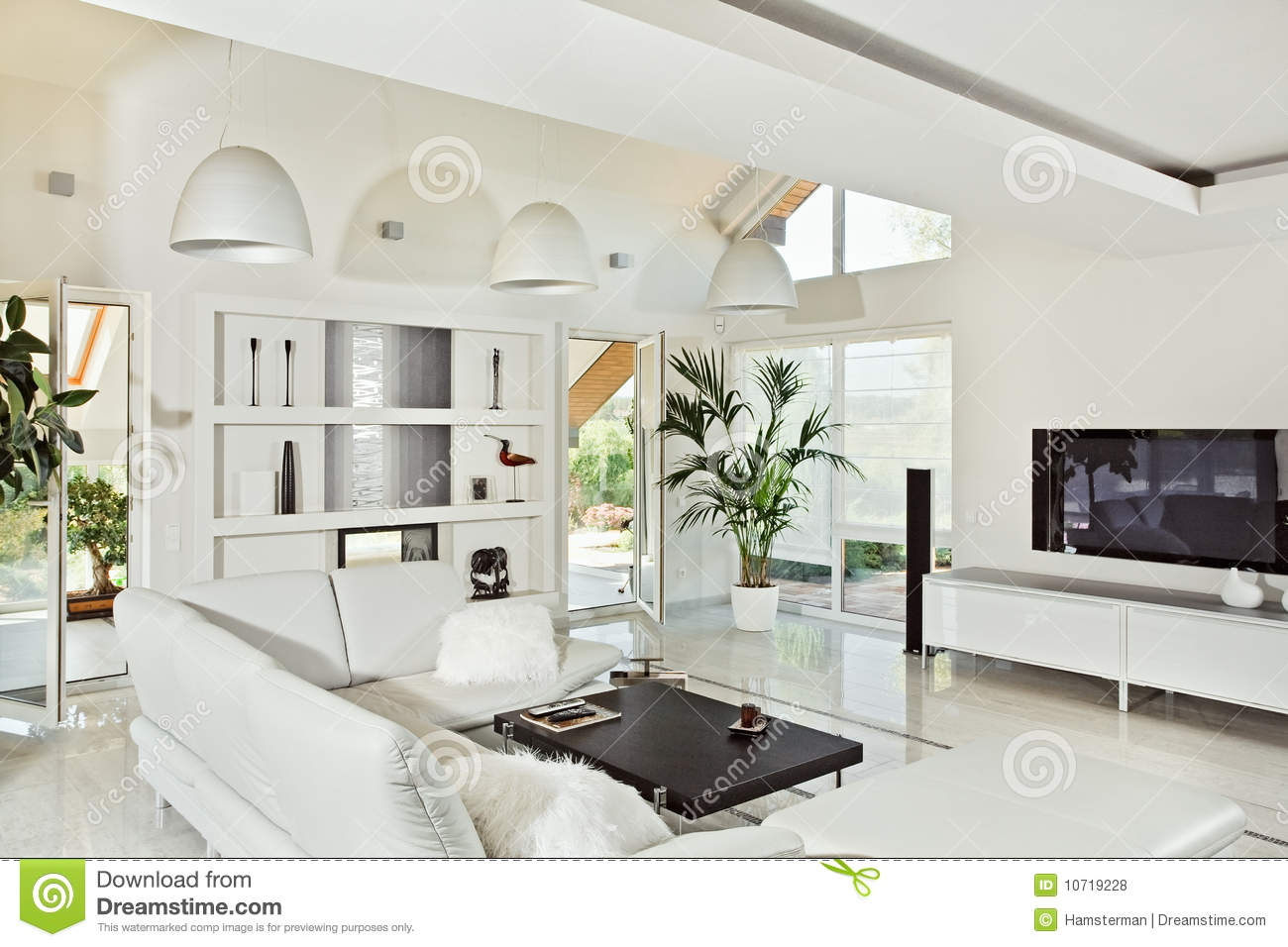 Snow White Living Room Modern Interior Royalty Free Stock