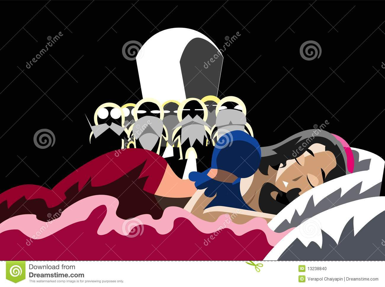 Snow White Sleeping On The Bed Stock Illustration Image
